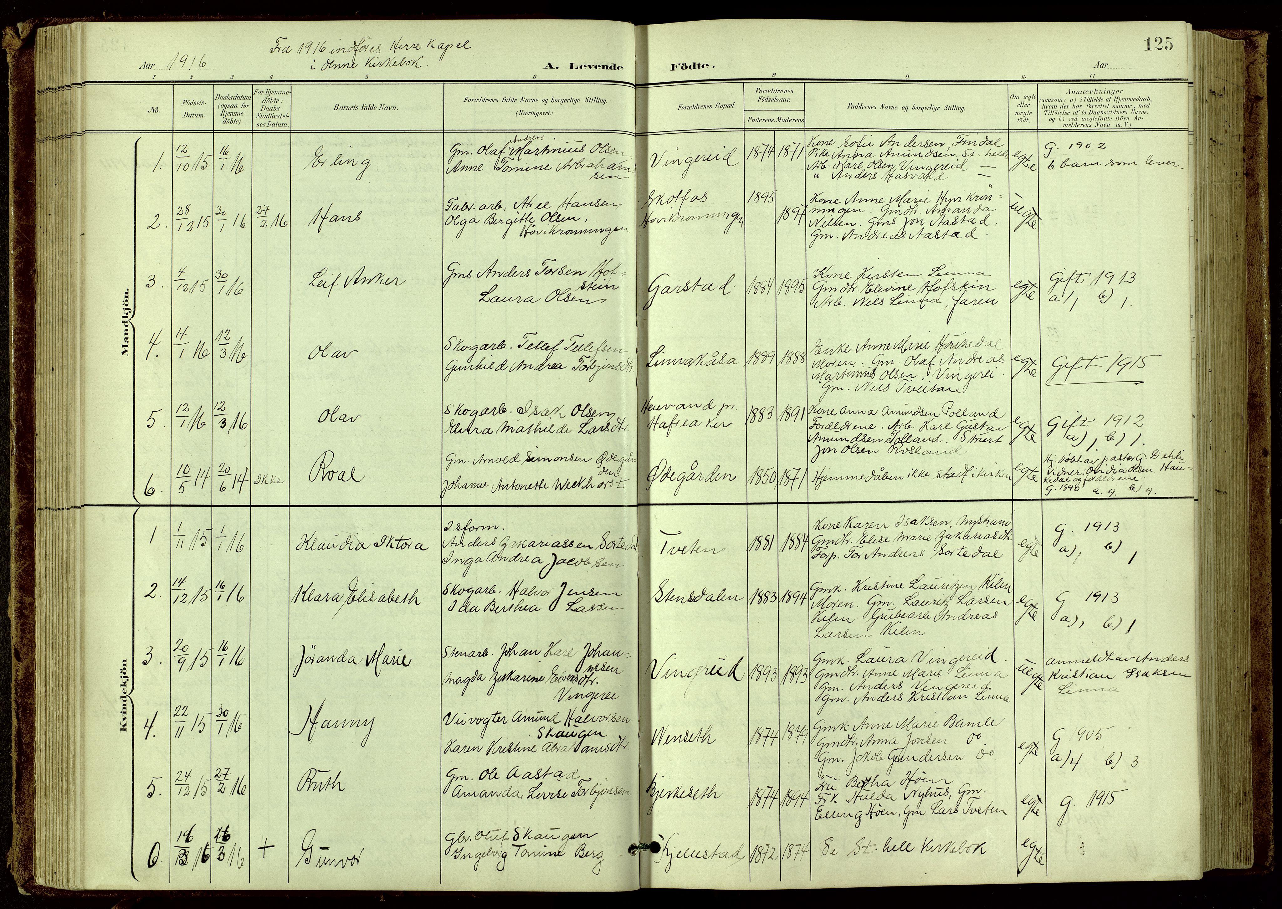 SAKO, Bamble kirkebøker, G/Ga/L0010: Klokkerbok nr. I 10, 1901-1919, s. 125