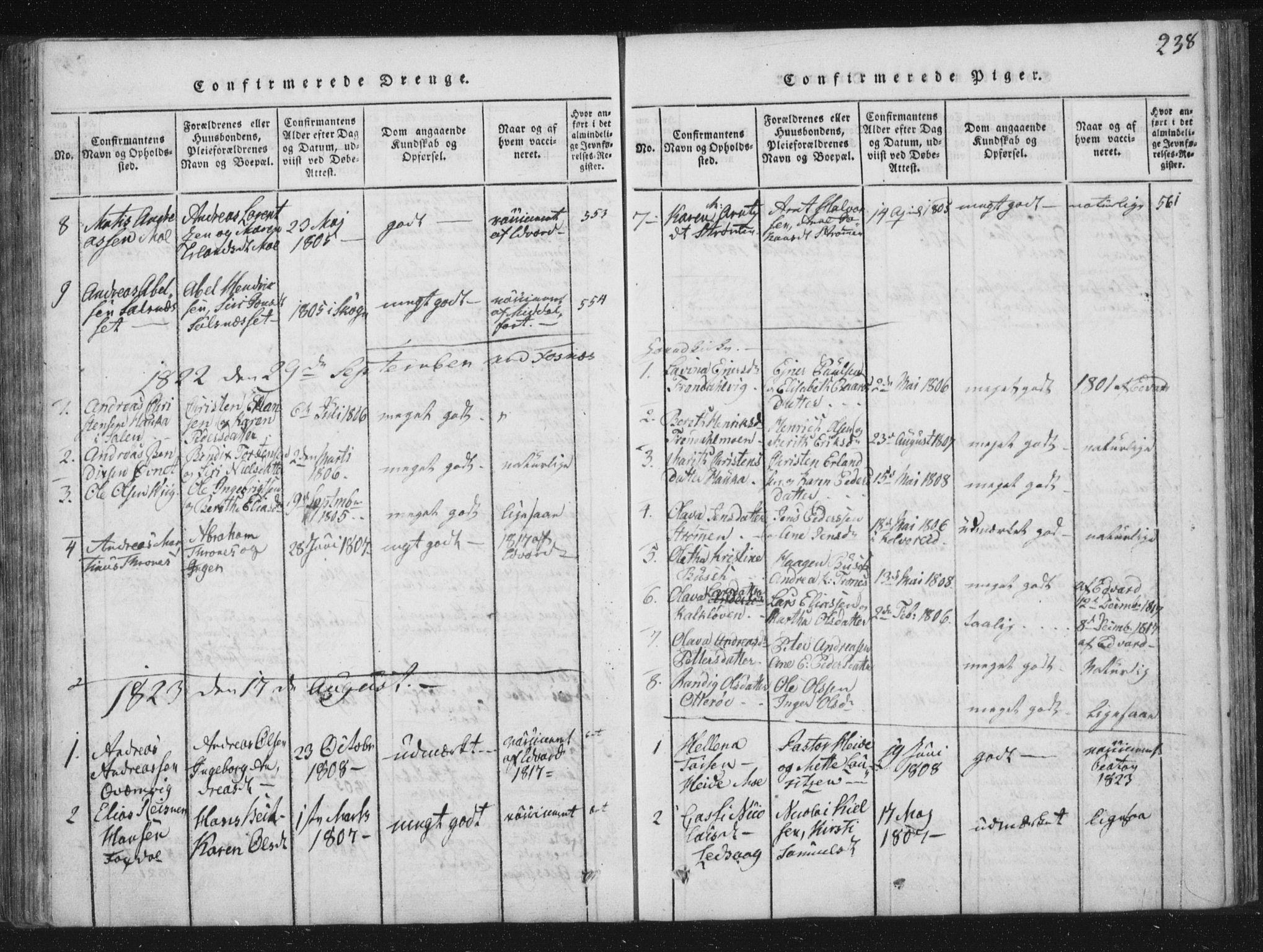 SAT, Ministerialprotokoller, klokkerbøker og fødselsregistre - Nord-Trøndelag, 773/L0609: Ministerialbok nr. 773A03 /1, 1815-1830, s. 238