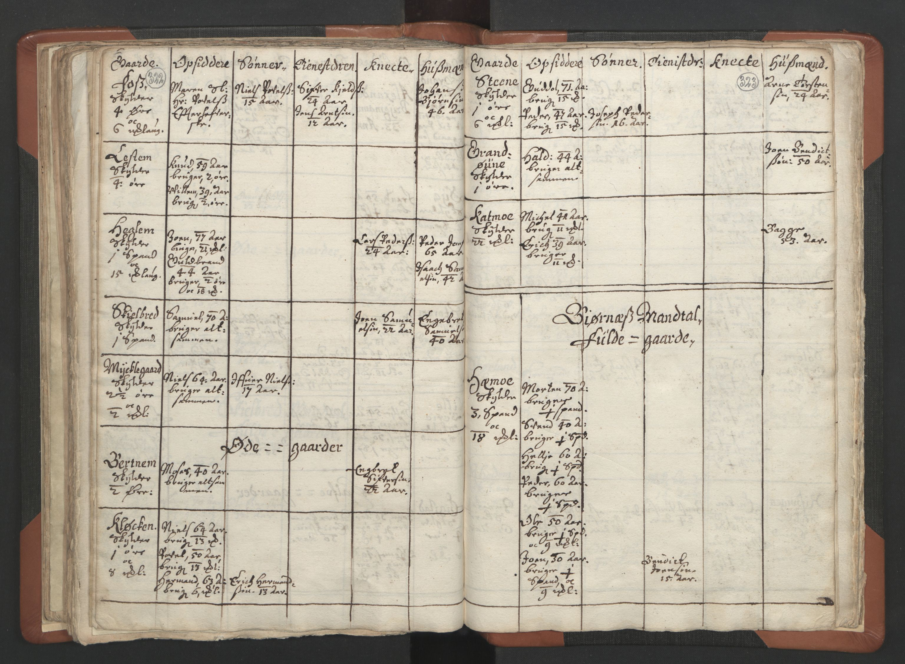 RA, Sogneprestenes manntall 1664-1666, nr. 34: Namdal prosti, 1664-1666, s. 322-323