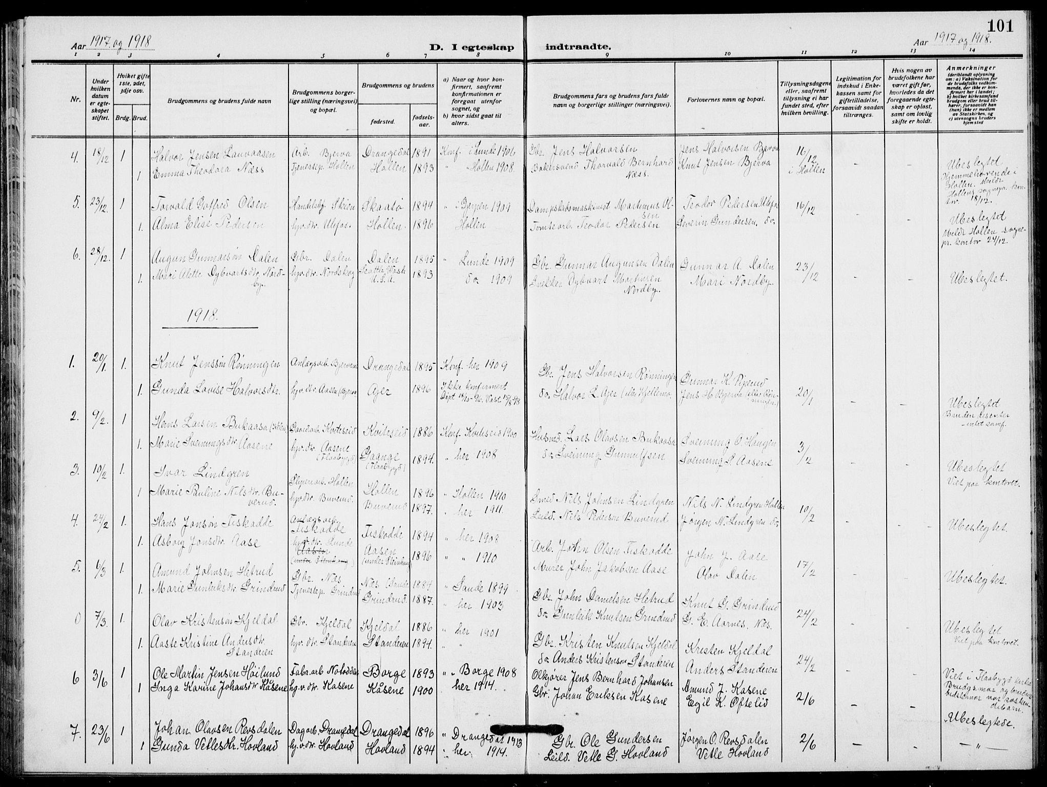 SAKO, Lunde kirkebøker, F/Fa/L0005: Ministerialbok nr. I 5, 1914-1922, s. 101