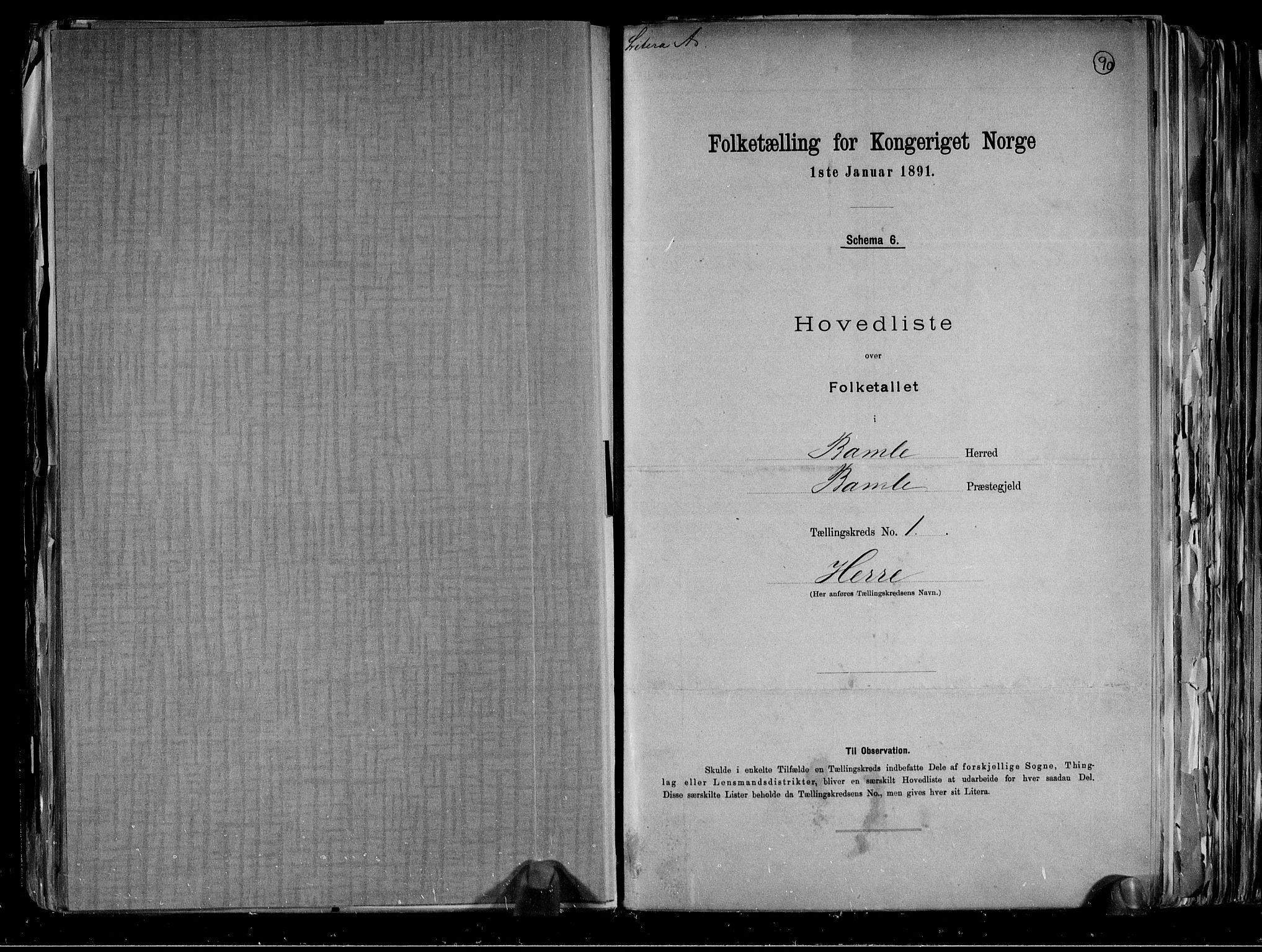 RA, Folketelling 1891 for 0814 Bamble herred, 1891, s. 6