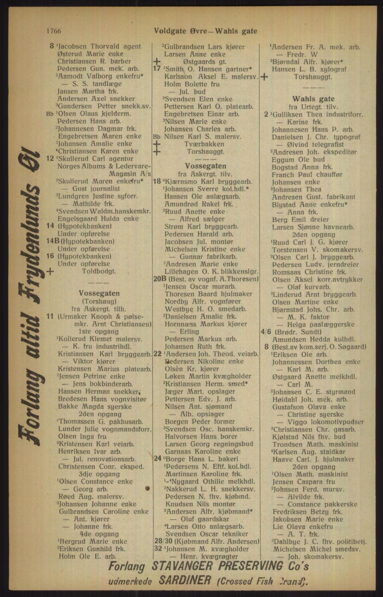 RA, Kristiania adressebok (publikasjon)*, 1915, s. 1766