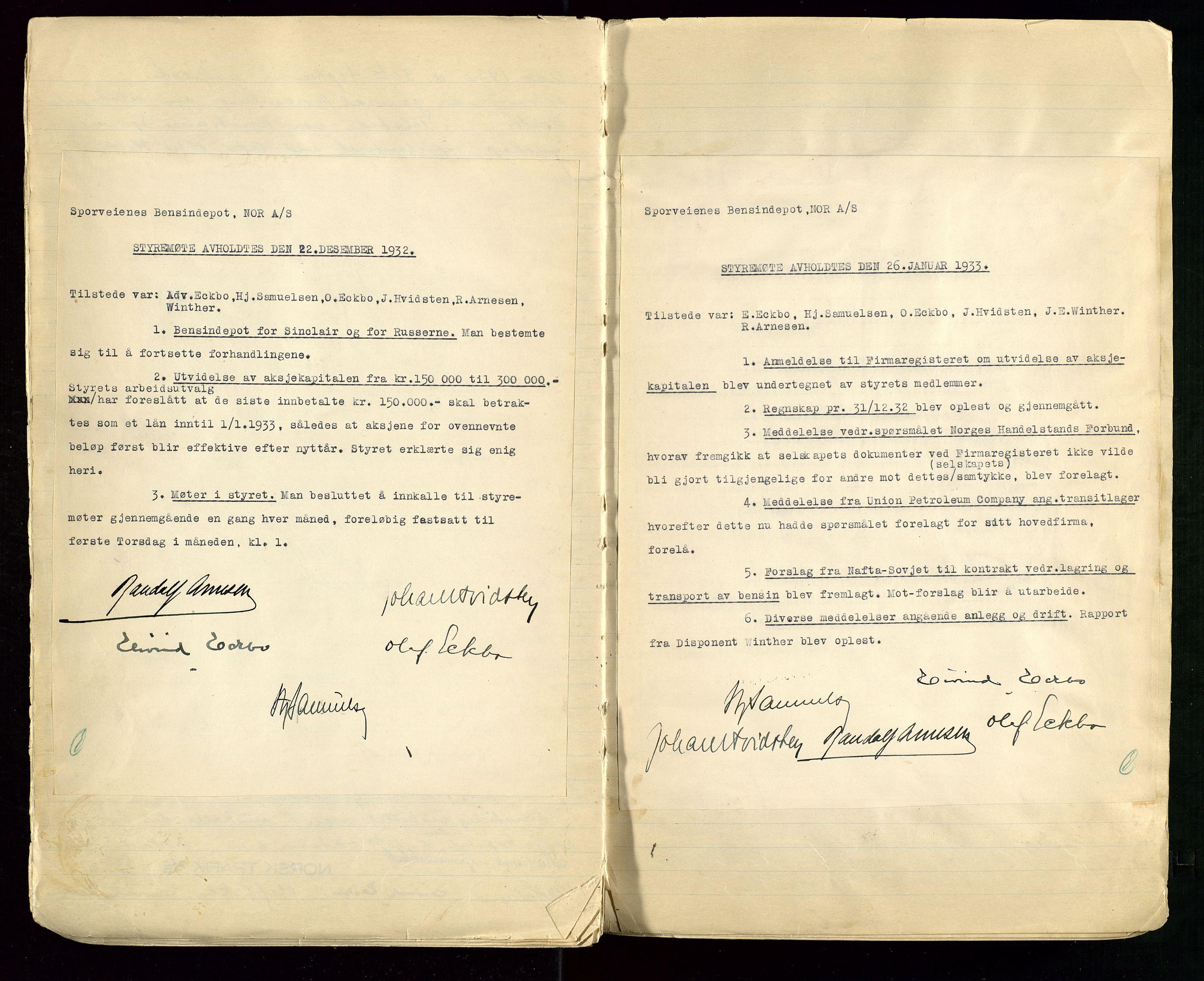 SAST, PA 1514 - Sporveienes Bensindepot, Norsk Oljeraffineri A/S, A/L0001: Styreprotokoll. Forhandlingsprotokoll Arbeidsutvaget, 1932-1949, s. 12