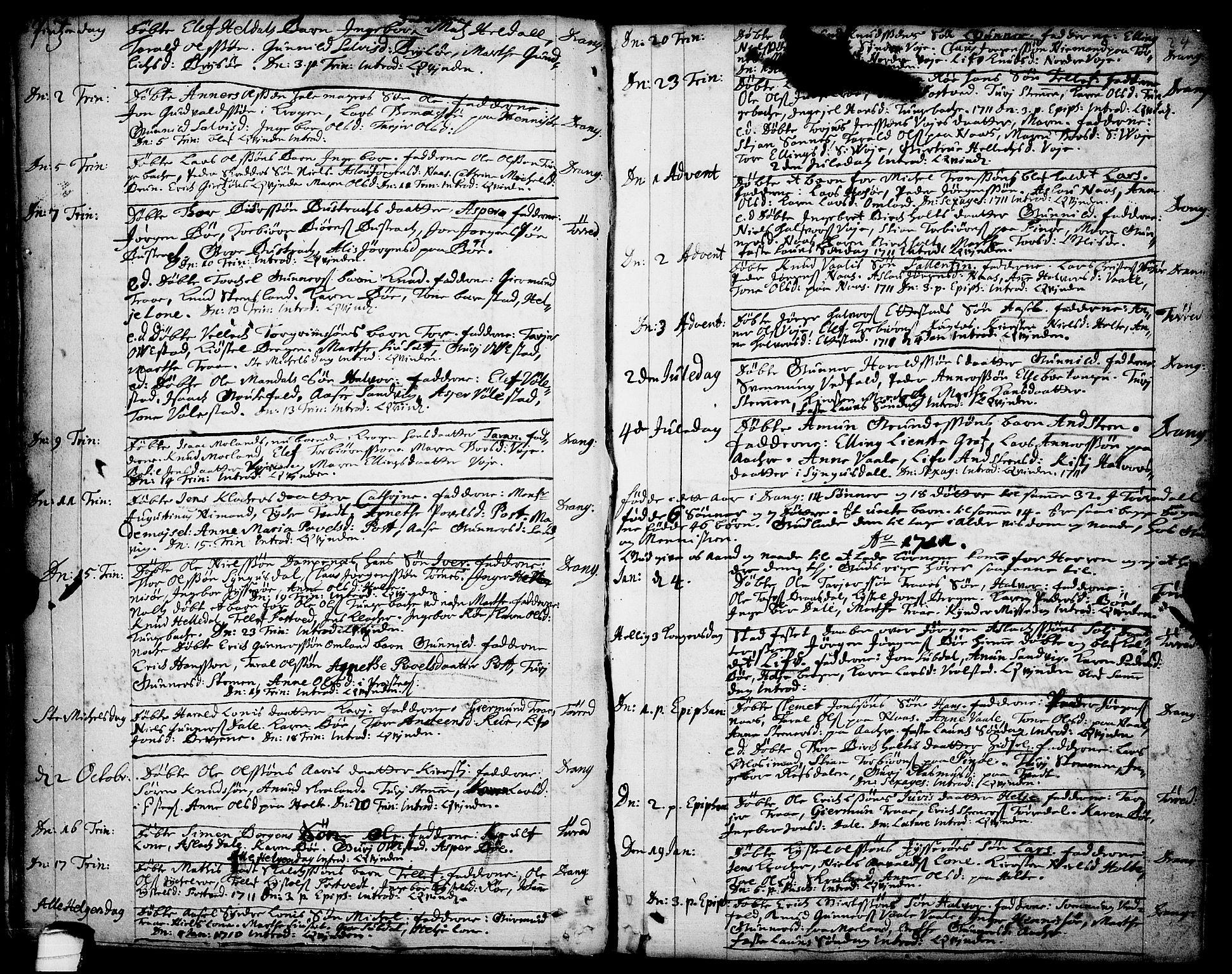 SAKO, Drangedal kirkebøker, F/Fa/L0001: Ministerialbok nr. 1, 1697-1767, s. 24