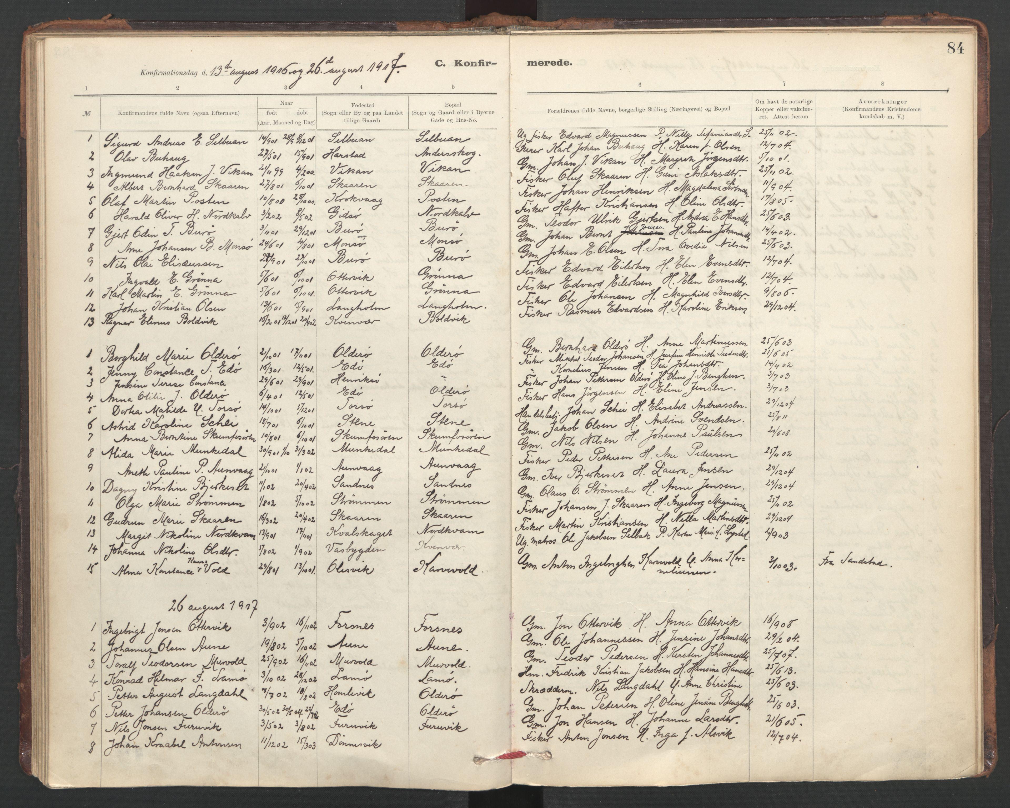 SAT, Ministerialprotokoller, klokkerbøker og fødselsregistre - Sør-Trøndelag, 635/L0552: Ministerialbok nr. 635A02, 1899-1919, s. 84