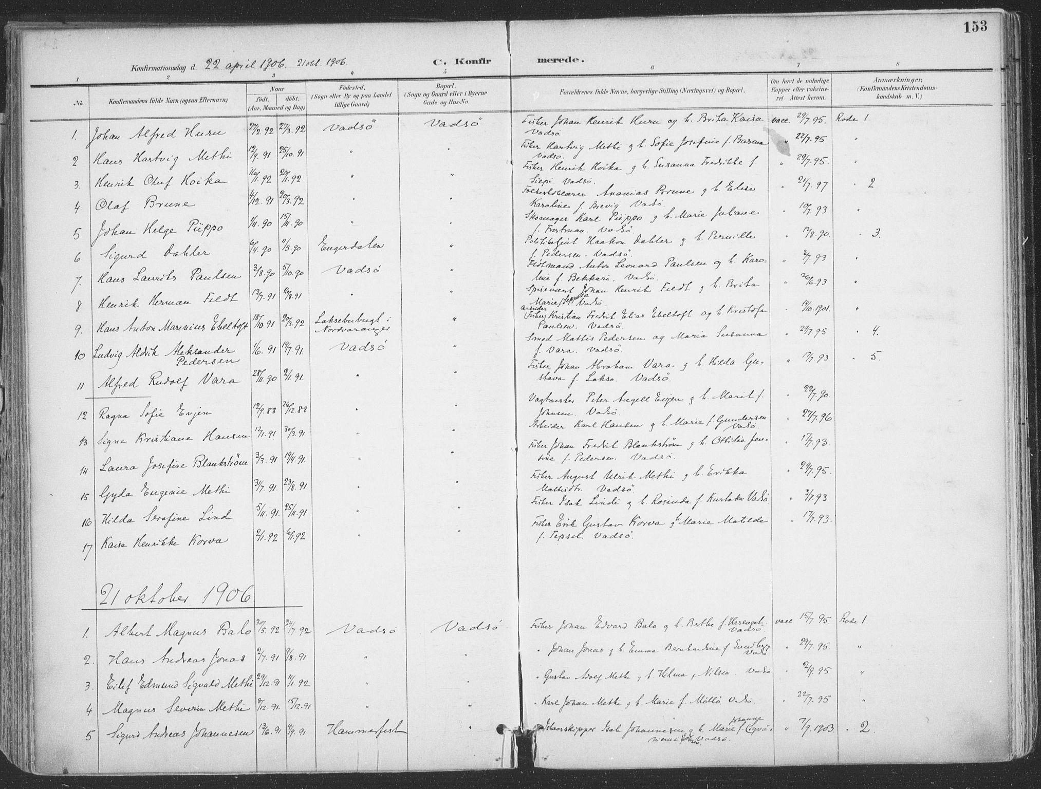 SATØ, Vadsø sokneprestkontor, H/Ha/L0007kirke: Ministerialbok nr. 7, 1896-1916, s. 153