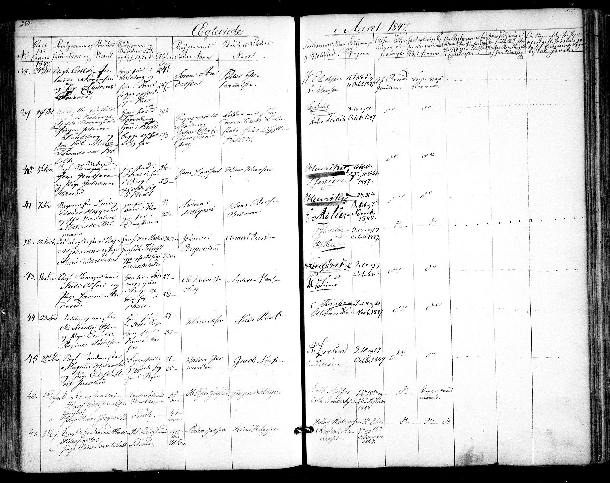 SAO, Halden prestekontor Kirkebøker, F/Fa/L0006: Ministerialbok nr. I 6, 1845-1856, s. 284
