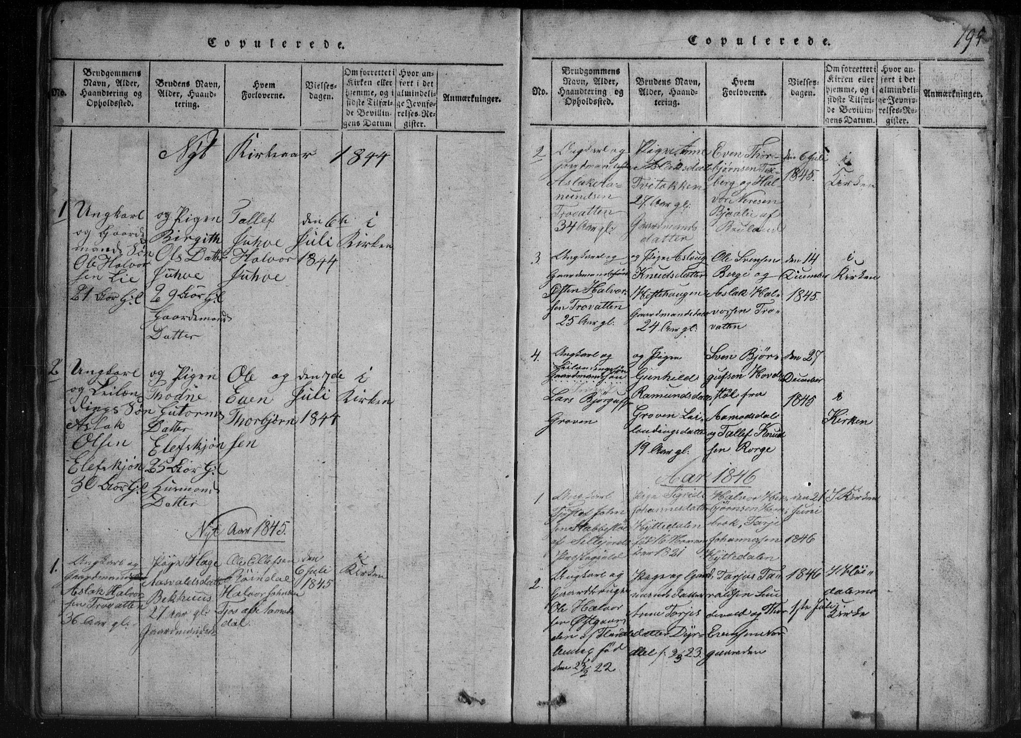 SAKO, Rauland kirkebøker, G/Gb/L0001: Klokkerbok nr. II 1, 1815-1886, s. 195