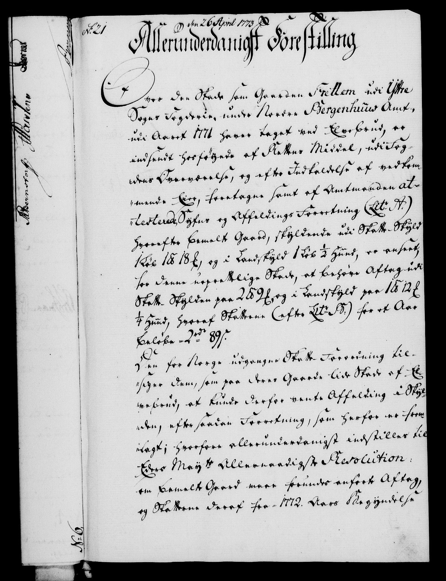 RA, Rentekammeret, Kammerkanselliet, G/Gf/Gfa/L0055: Norsk relasjons- og resolusjonsprotokoll (merket RK 52.55), 1773, s. 94