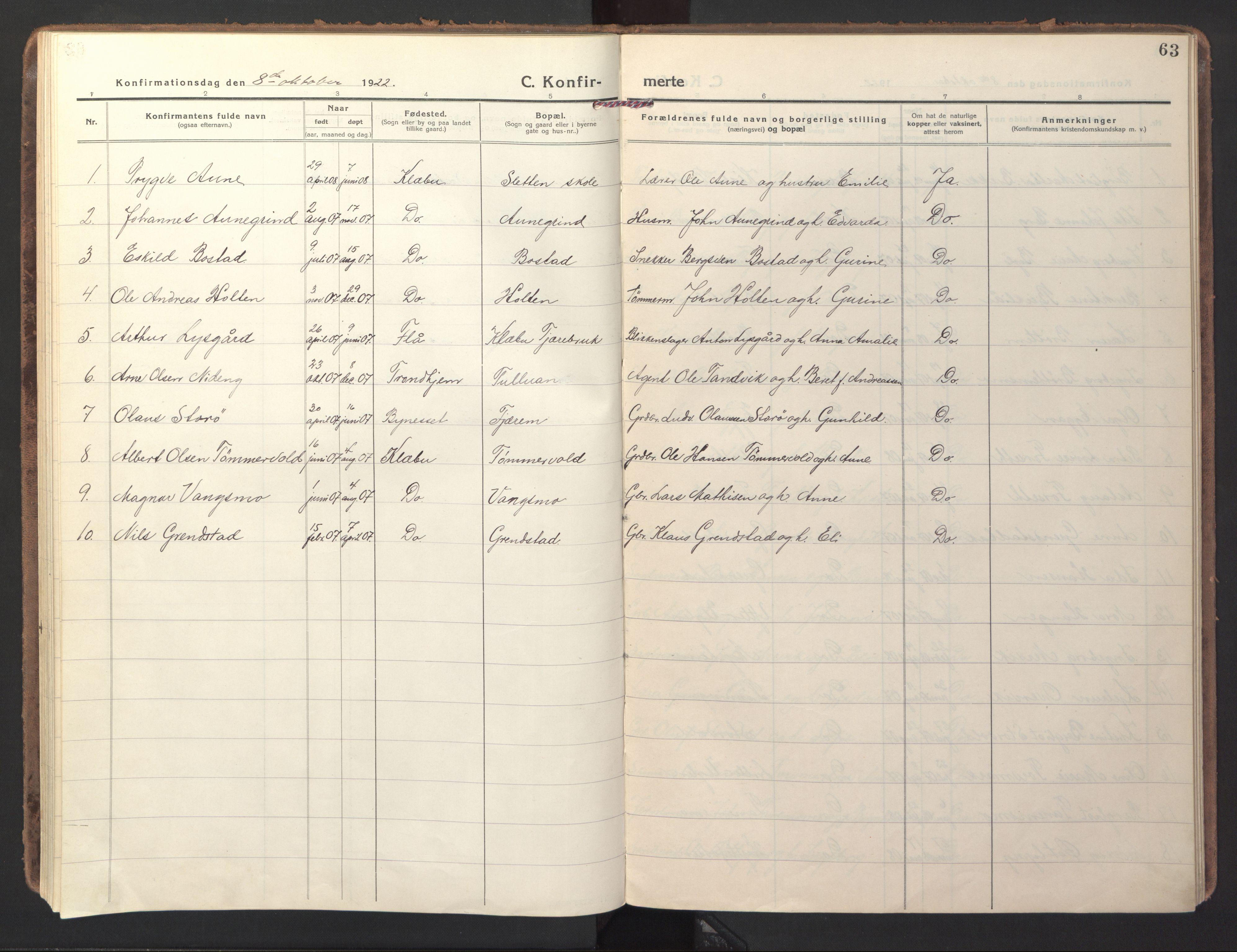 SAT, Ministerialprotokoller, klokkerbøker og fødselsregistre - Sør-Trøndelag, 618/L0449: Ministerialbok nr. 618A12, 1917-1924, s. 63