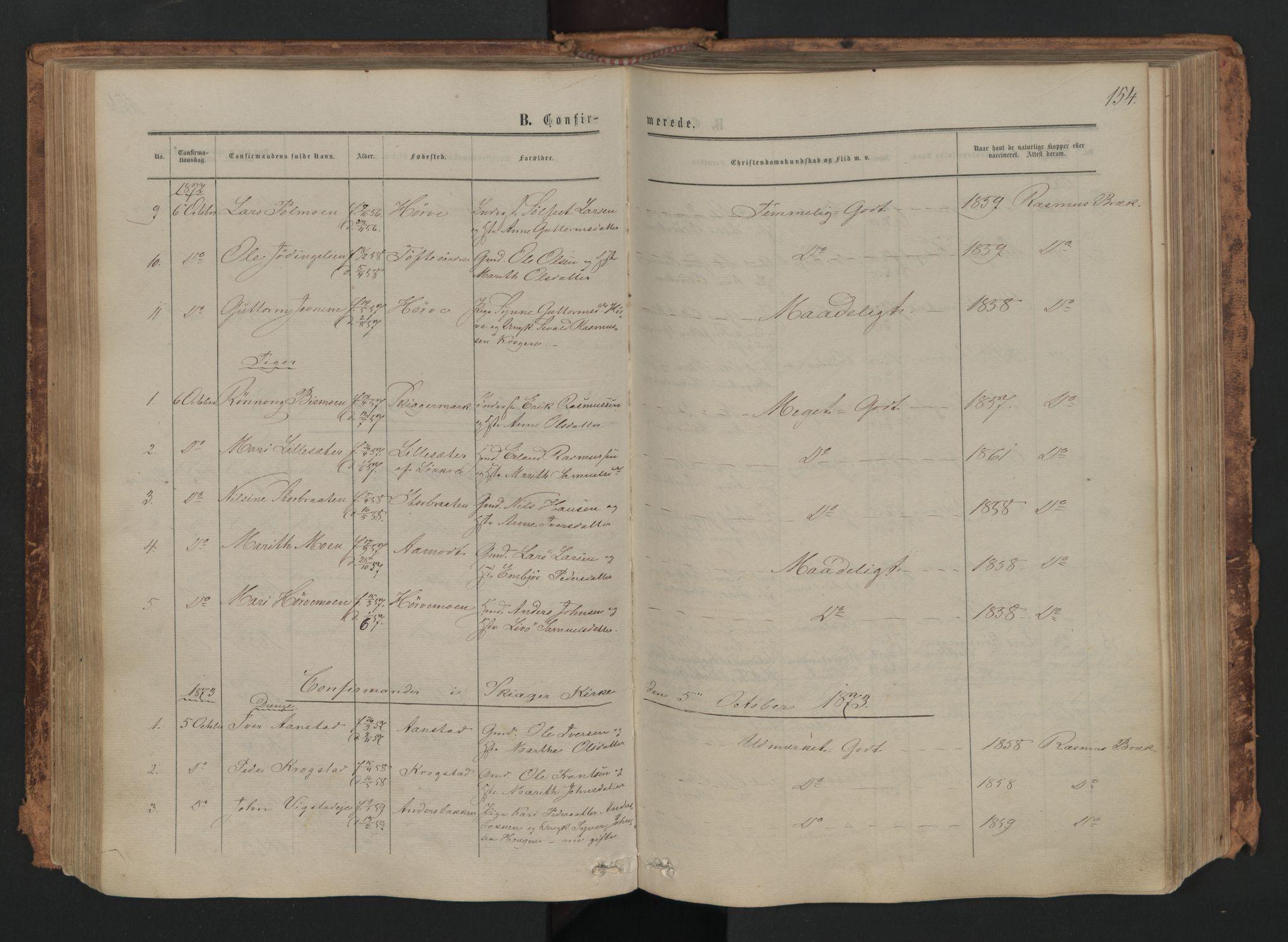 SAH, Skjåk prestekontor, Ministerialbok nr. 1, 1863-1879, s. 154