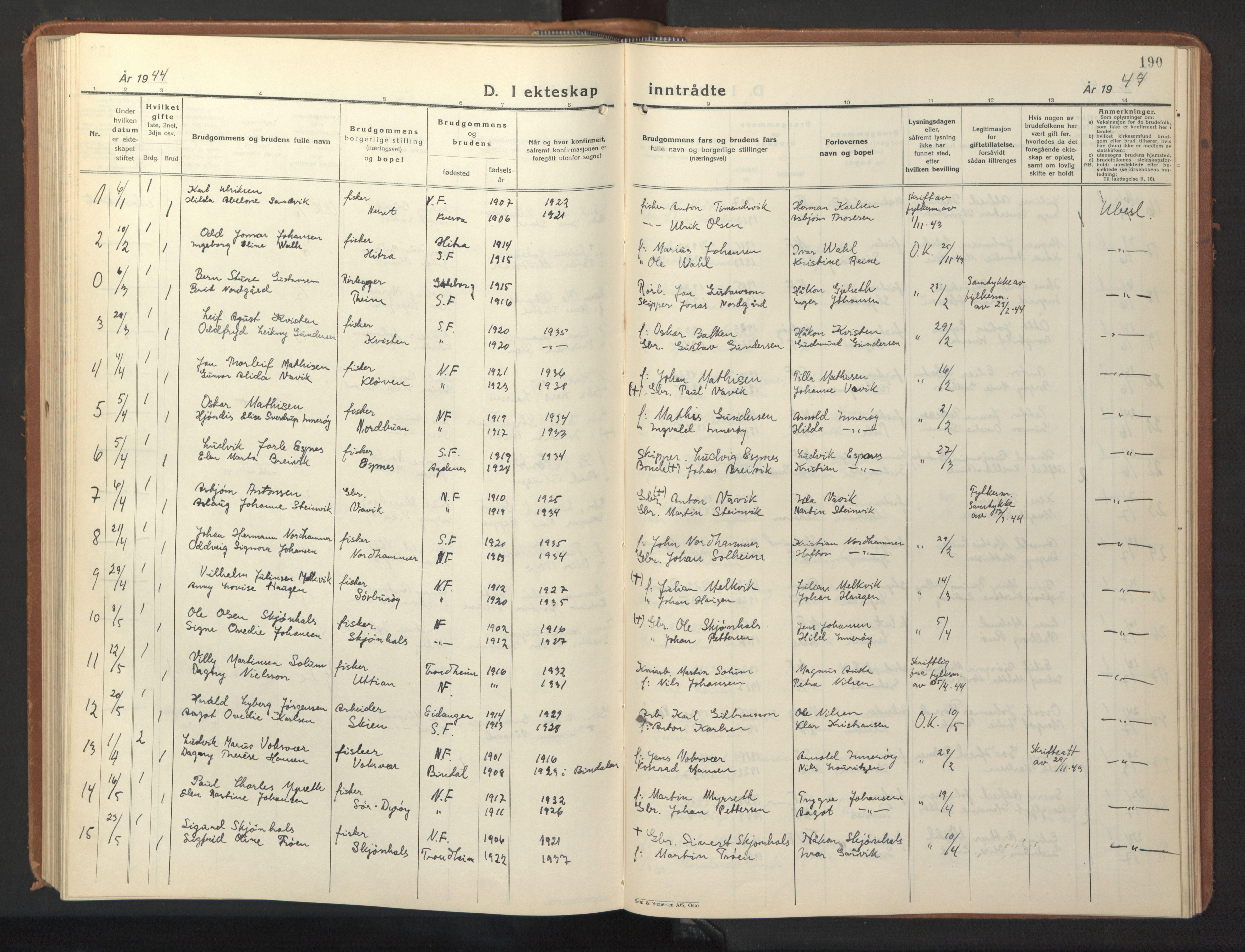 SAT, Ministerialprotokoller, klokkerbøker og fødselsregistre - Sør-Trøndelag, 640/L0590: Klokkerbok nr. 640C07, 1935-1948, s. 190