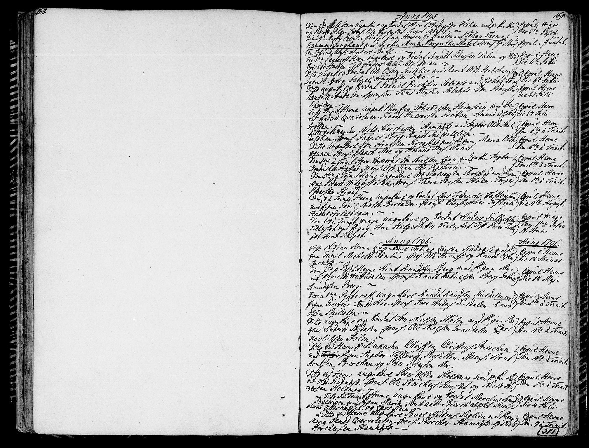 SAT, Ministerialprotokoller, klokkerbøker og fødselsregistre - Sør-Trøndelag, 630/L0490: Ministerialbok nr. 630A03, 1795-1818, s. 168-169