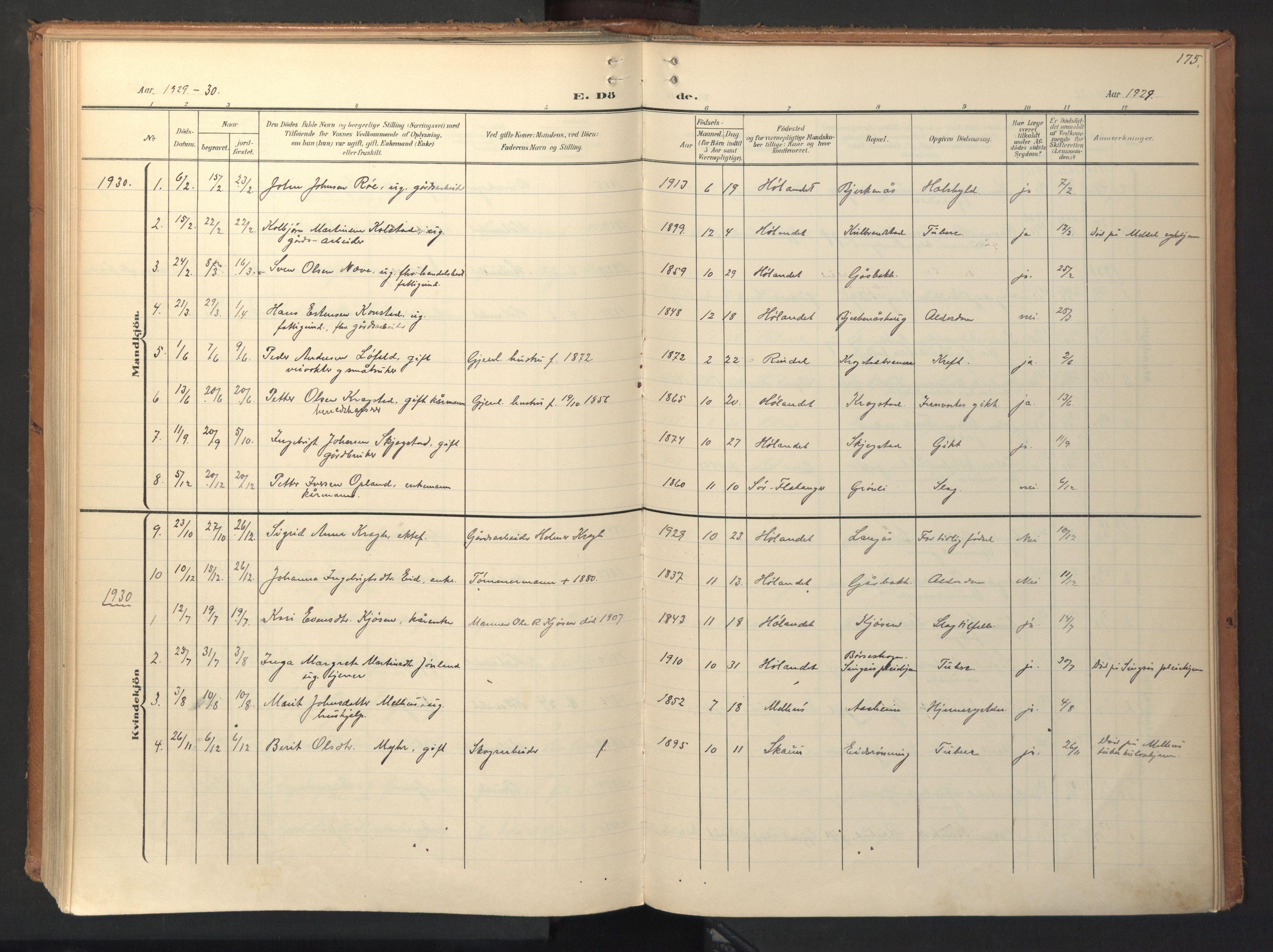 SAT, Ministerialprotokoller, klokkerbøker og fødselsregistre - Sør-Trøndelag, 694/L1128: Ministerialbok nr. 694A02, 1906-1931, s. 175