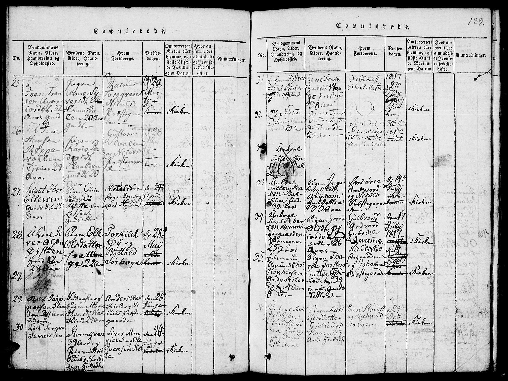 SAH, Lom prestekontor, L/L0001: Klokkerbok nr. 1, 1815-1836, s. 189