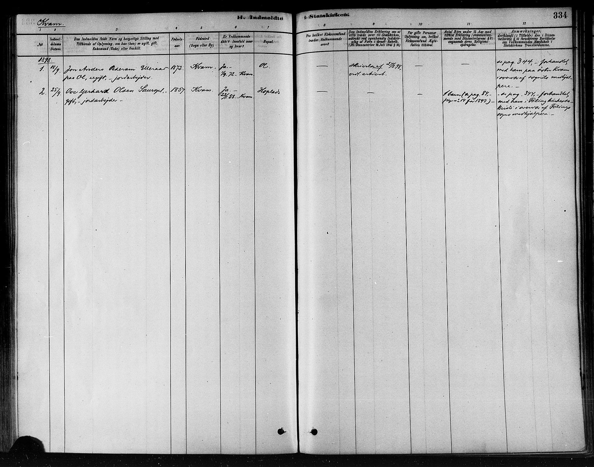 SAT, Ministerialprotokoller, klokkerbøker og fødselsregistre - Nord-Trøndelag, 746/L0449: Ministerialbok nr. 746A07 /2, 1878-1899, s. 334