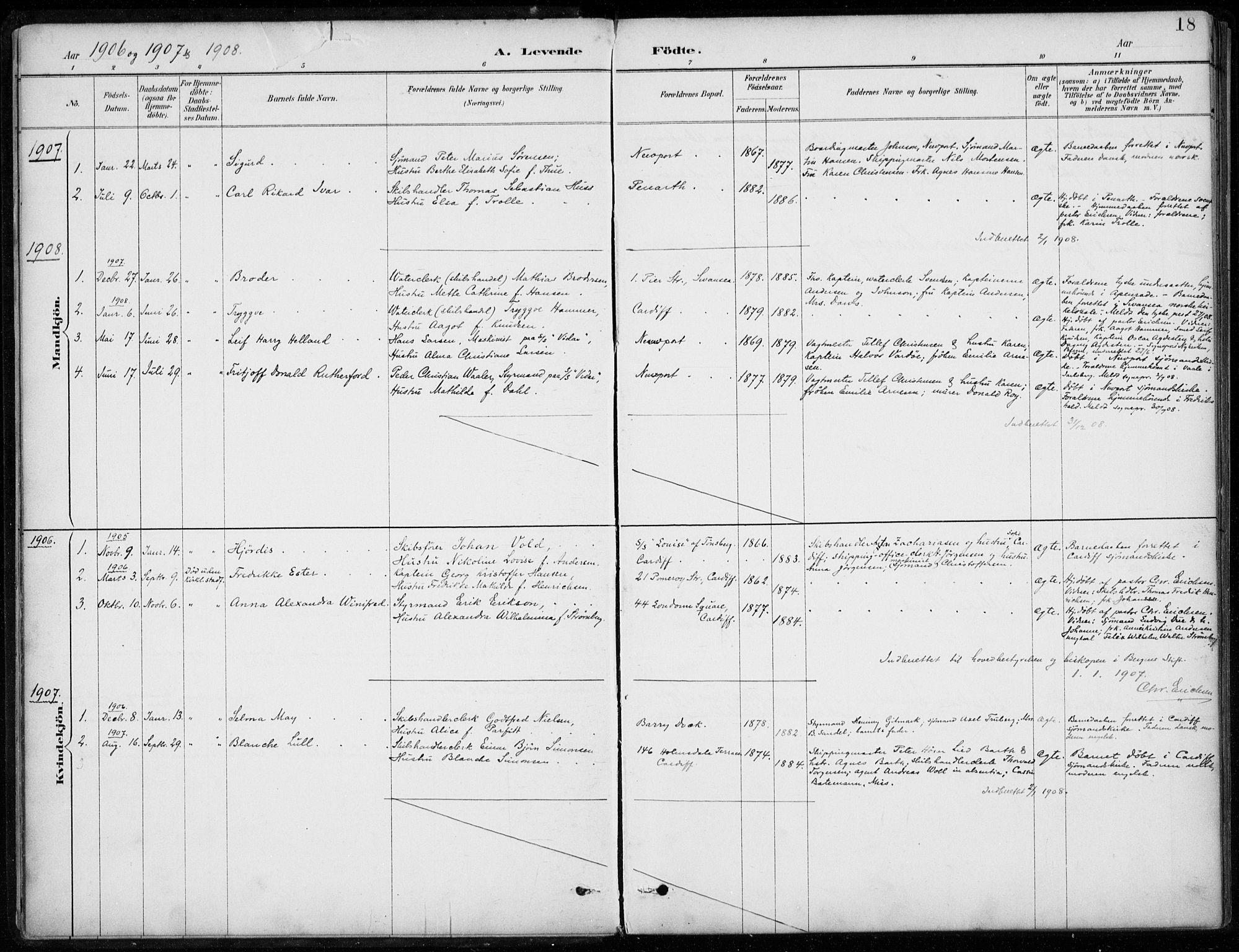 SAB, Den Norske Sjømannsmisjon i utlandet*, Ministerialbok nr. A 2, 1887-1932, s. 18