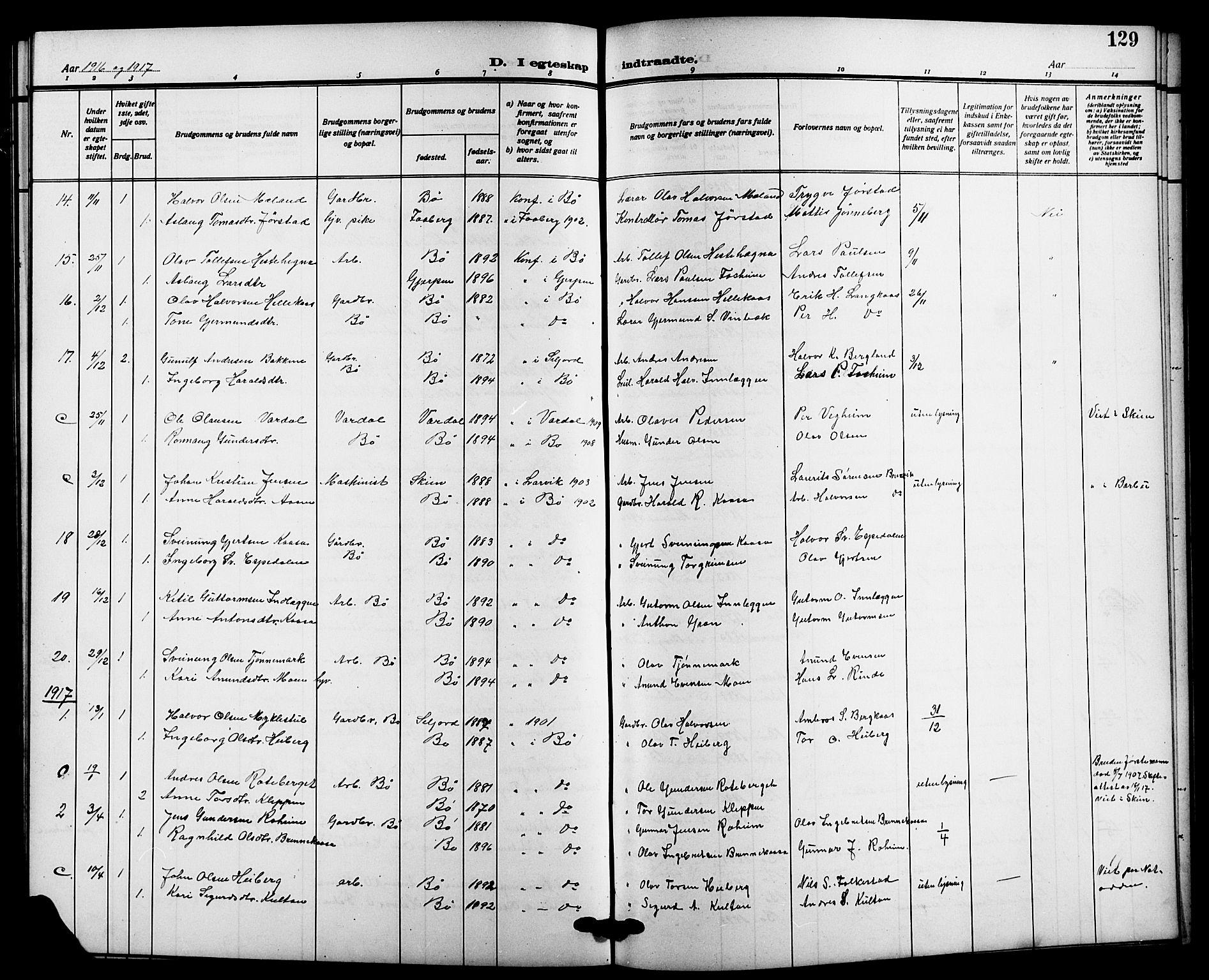 SAKO, Bø kirkebøker, G/Ga/L0007: Klokkerbok nr. 7, 1909-1924, s. 129