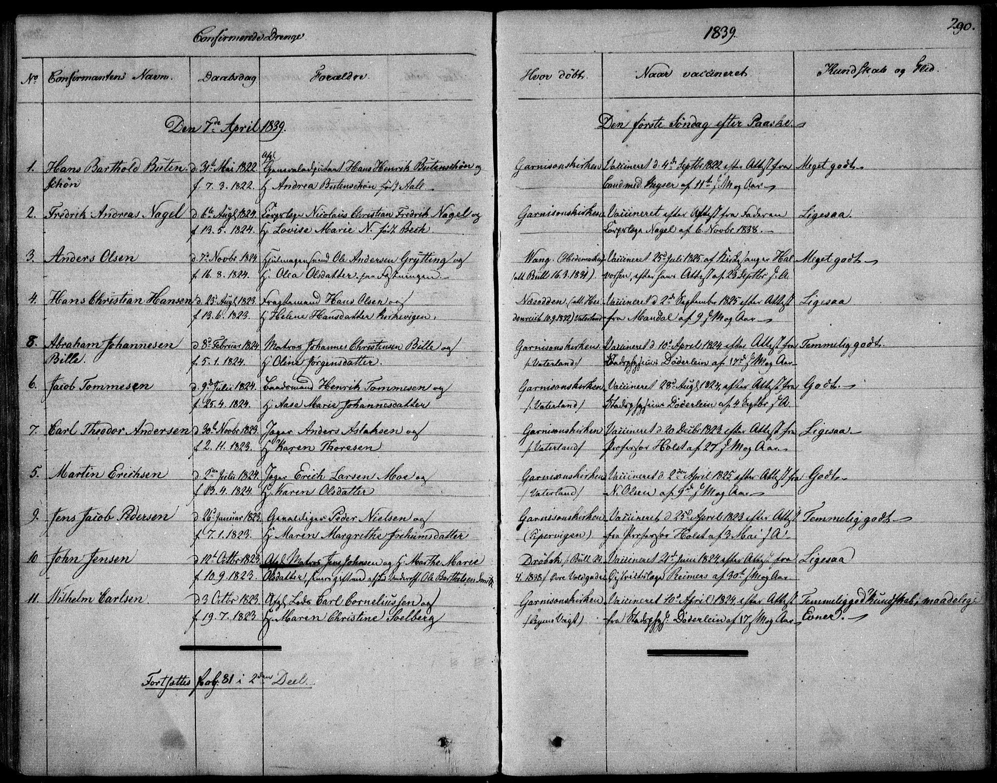 SAO, Garnisonsmenigheten Kirkebøker, F/Fa/L0006: Ministerialbok nr. 6, 1828-1841, s. 290