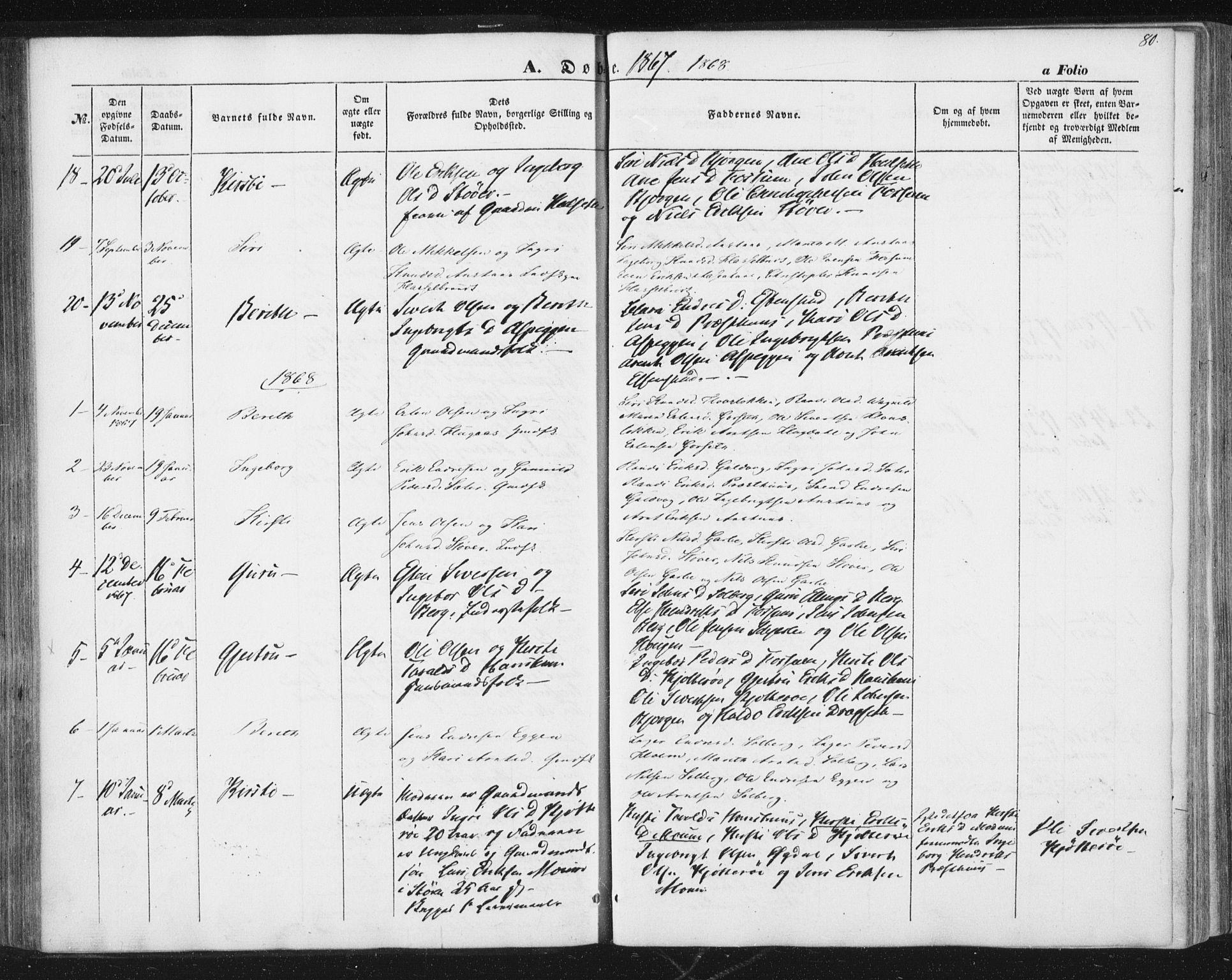SAT, Ministerialprotokoller, klokkerbøker og fødselsregistre - Sør-Trøndelag, 689/L1038: Ministerialbok nr. 689A03, 1848-1872, s. 80