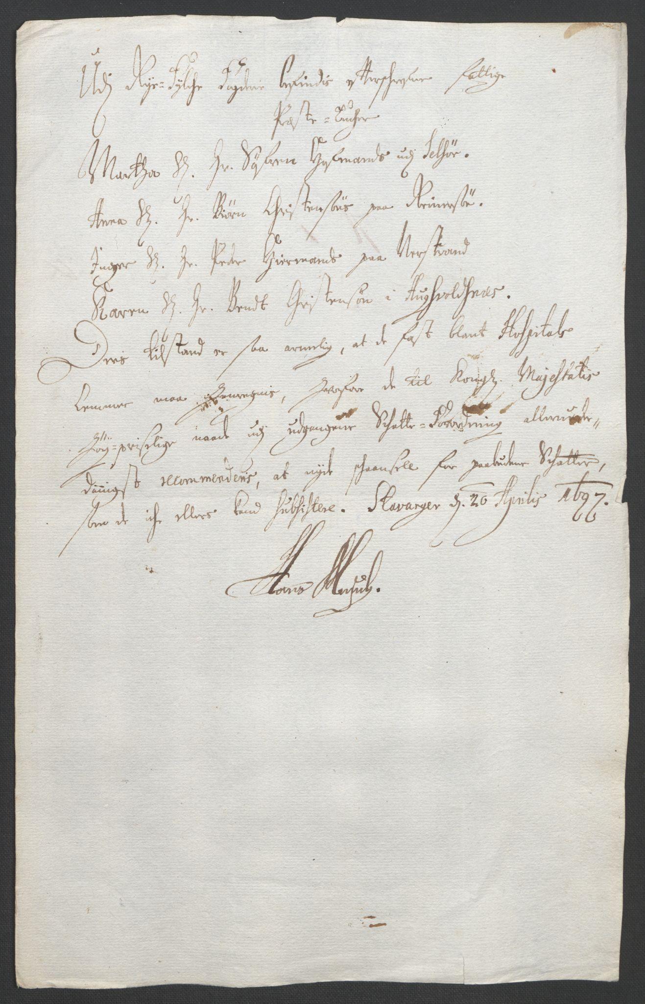 RA, Rentekammeret inntil 1814, Reviderte regnskaper, Fogderegnskap, R47/L2857: Fogderegnskap Ryfylke, 1694-1696, s. 277