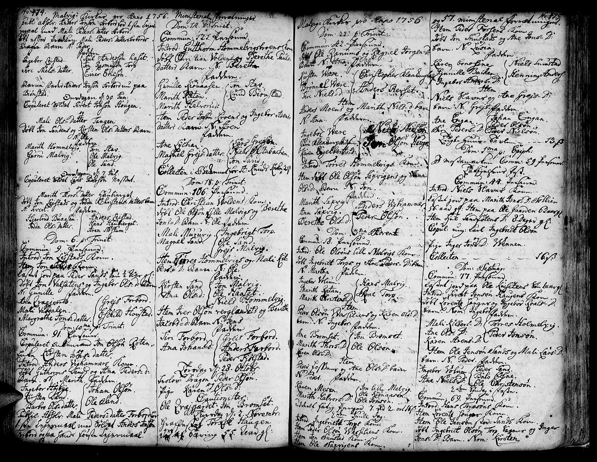 SAT, Ministerialprotokoller, klokkerbøker og fødselsregistre - Sør-Trøndelag, 606/L0277: Ministerialbok nr. 606A01 /3, 1727-1780, s. 474-475