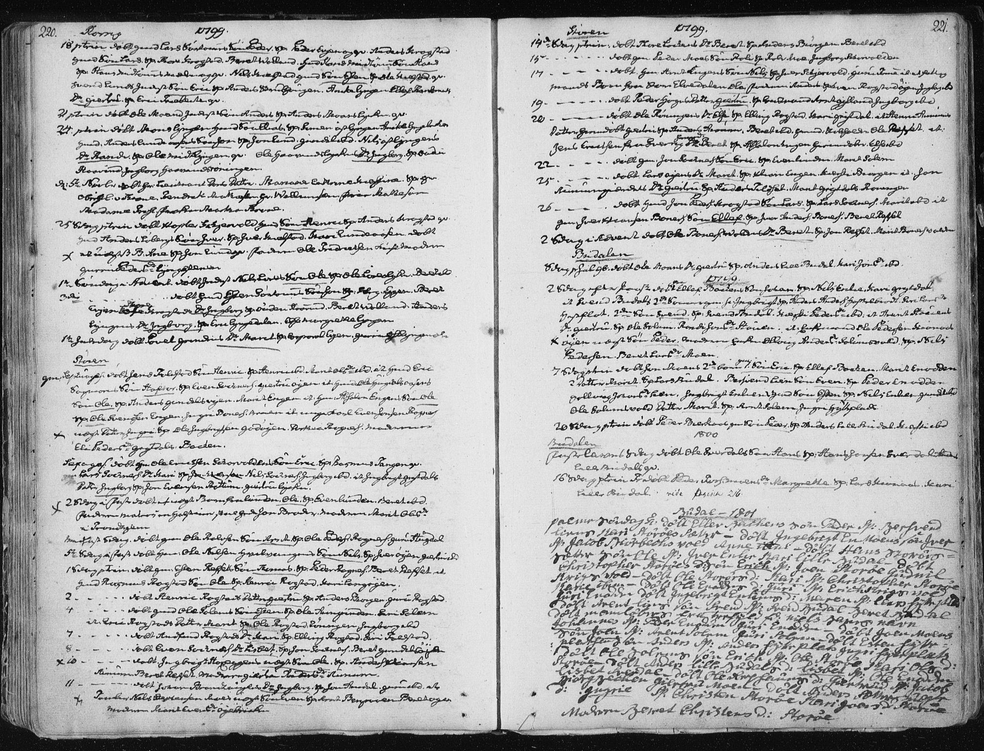 SAT, Ministerialprotokoller, klokkerbøker og fødselsregistre - Sør-Trøndelag, 687/L0992: Ministerialbok nr. 687A03 /1, 1788-1815, s. 220-221