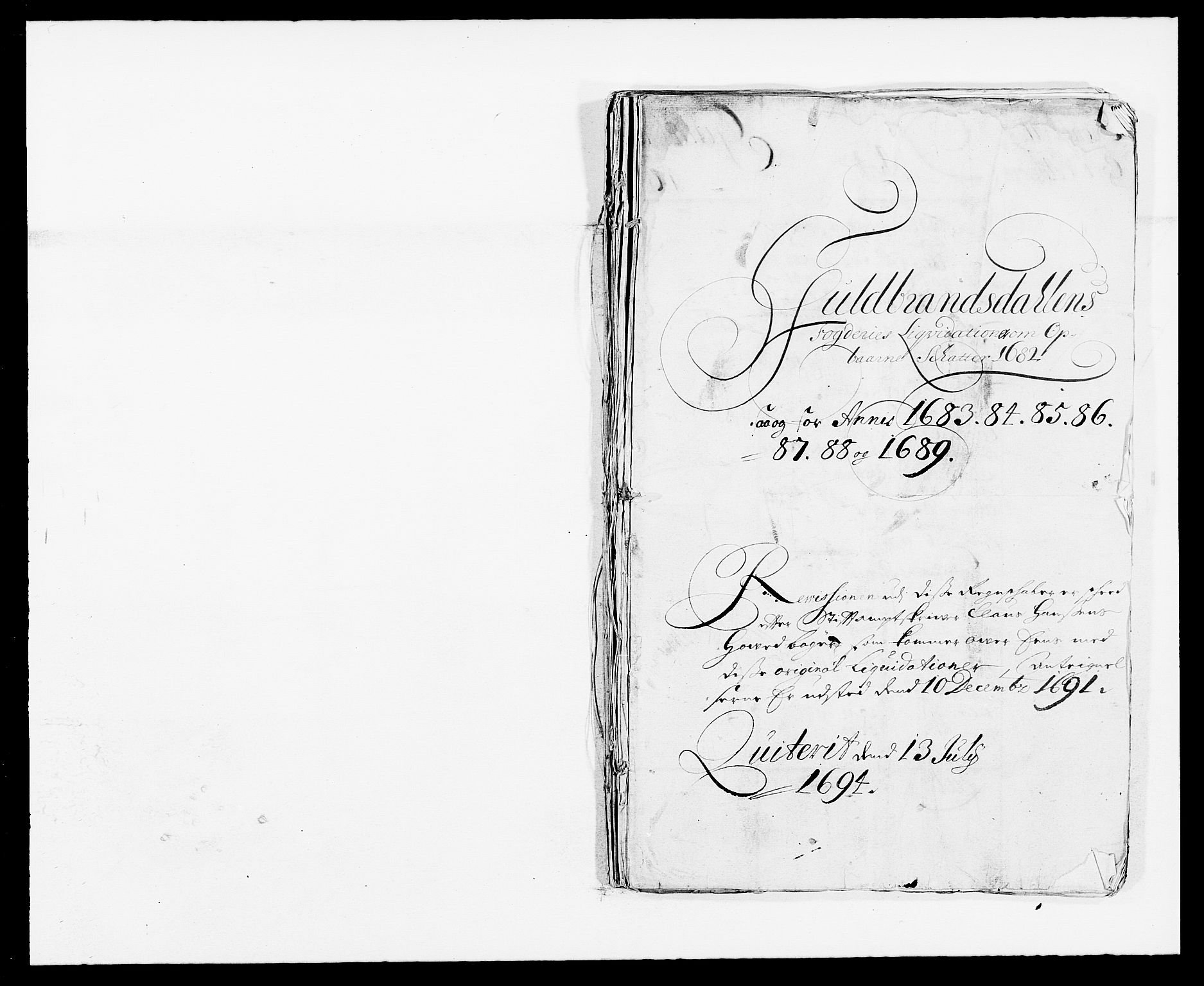 RA, Rentekammeret inntil 1814, Reviderte regnskaper, Fogderegnskap, R17/L1157: Fogderegnskap Gudbrandsdal, 1682-1689, s. 1