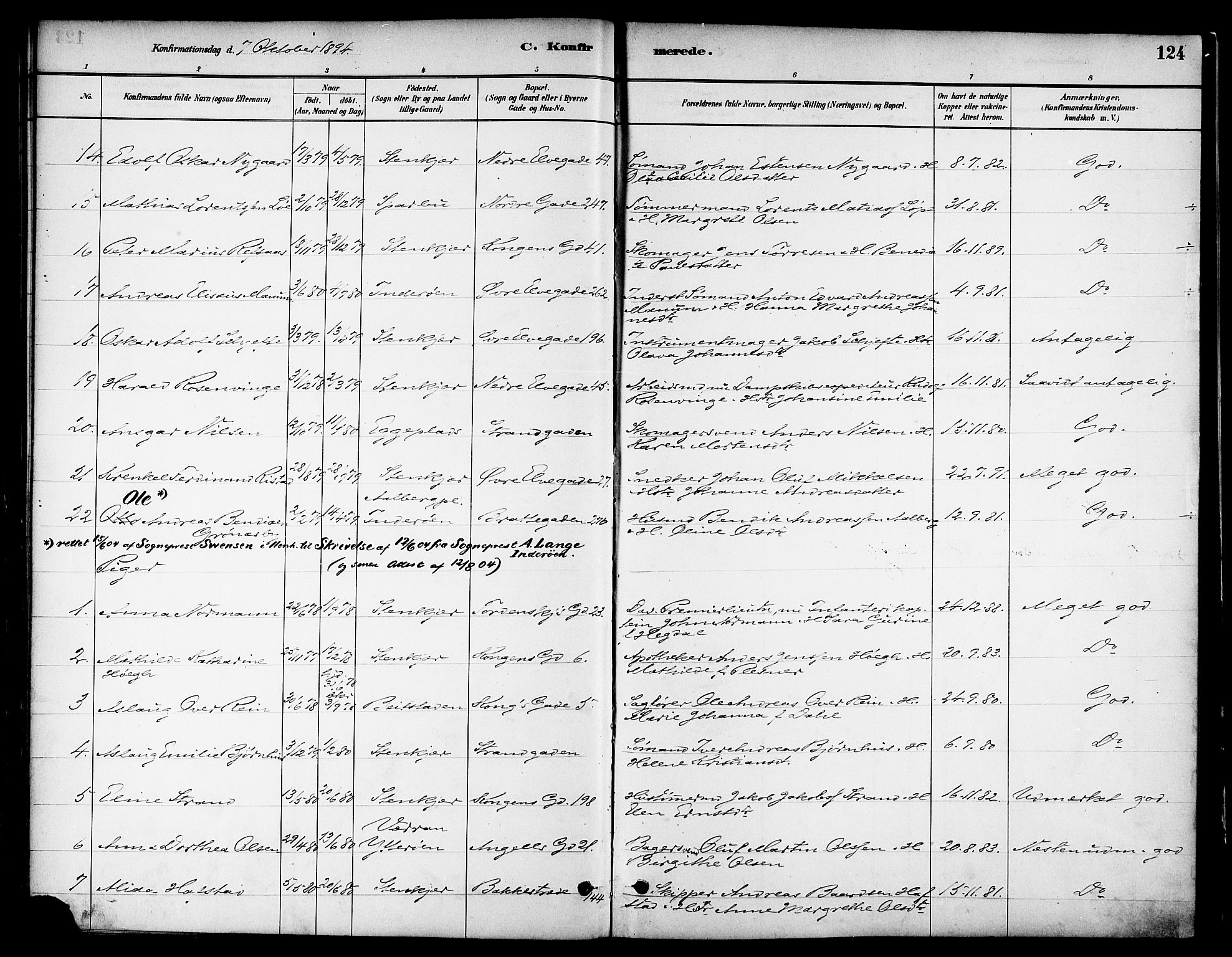 SAT, Ministerialprotokoller, klokkerbøker og fødselsregistre - Nord-Trøndelag, 739/L0371: Ministerialbok nr. 739A03, 1881-1895, s. 124