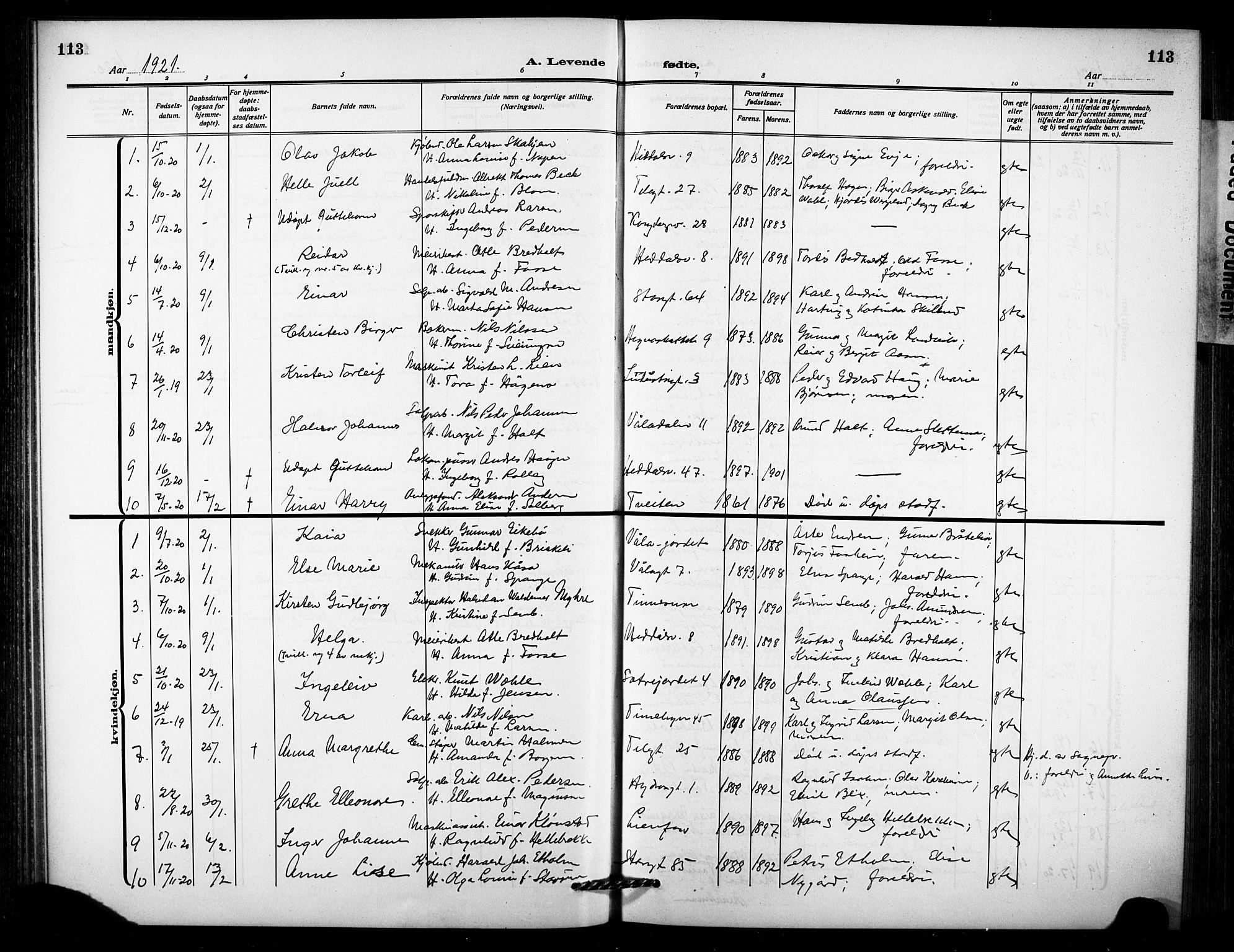 SAKO, Notodden kirkebøker, G/Ga/L0001: Klokkerbok nr. 1, 1912-1923, s. 113