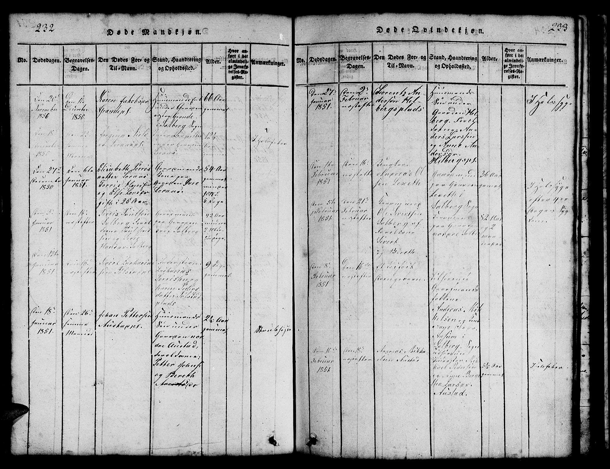 SAT, Ministerialprotokoller, klokkerbøker og fødselsregistre - Nord-Trøndelag, 731/L0310: Klokkerbok nr. 731C01, 1816-1874, s. 232-233