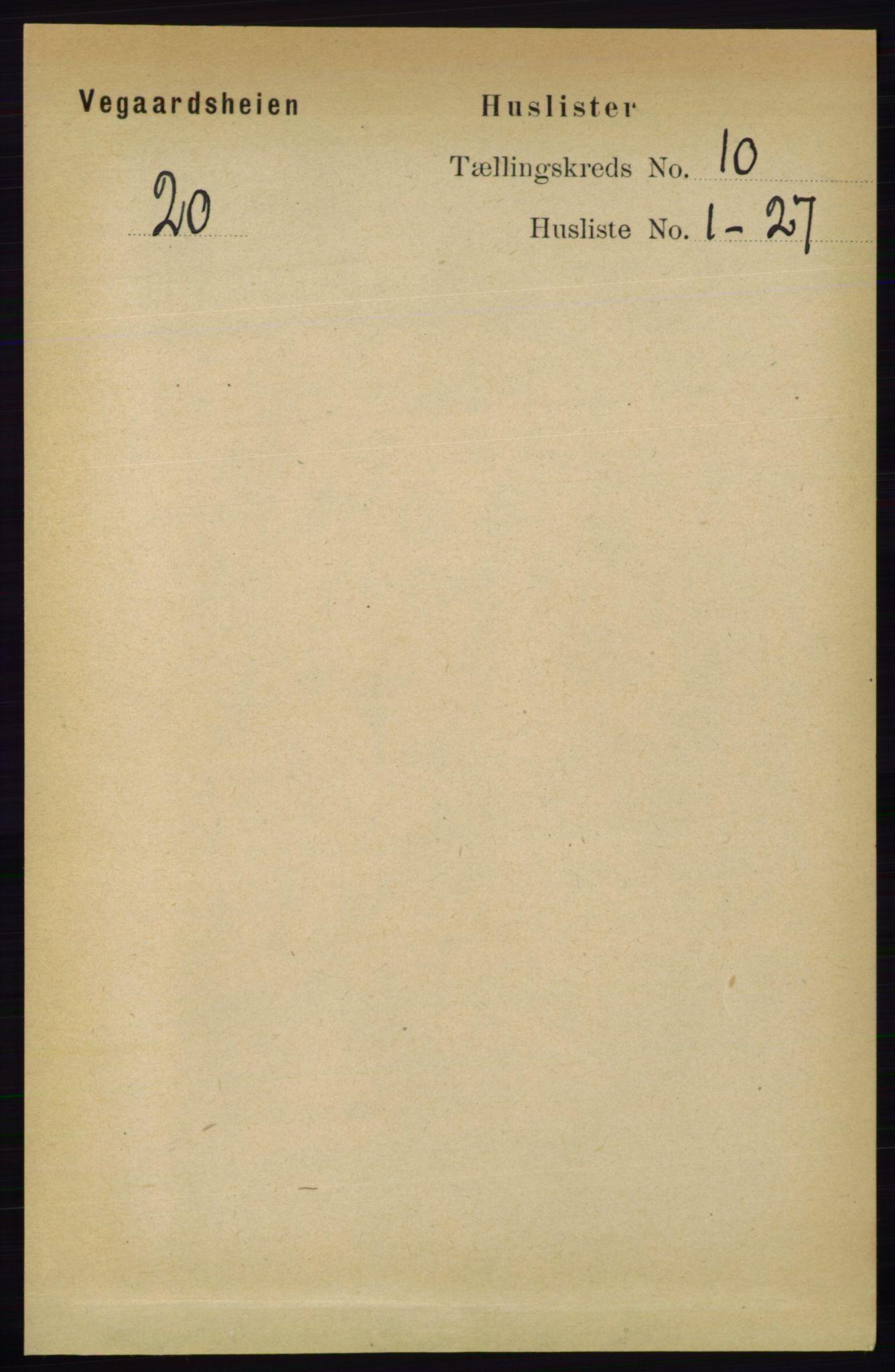 RA, Folketelling 1891 for 0912 Vegårshei herred, 1891, s. 1878