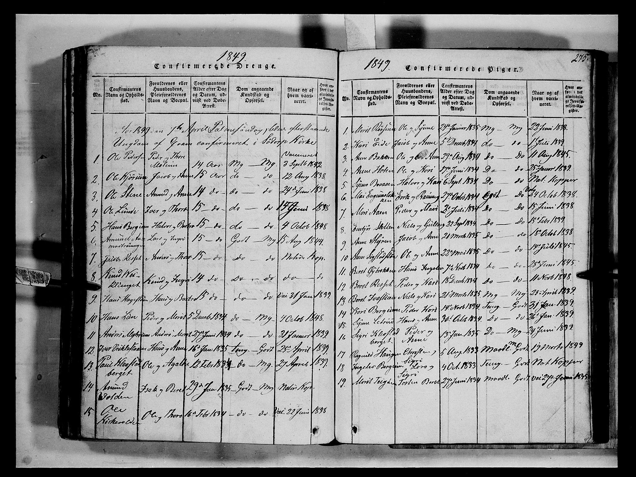 SAH, Fron prestekontor, H/Ha/Hab/L0002: Klokkerbok nr. 2, 1816-1850, s. 275