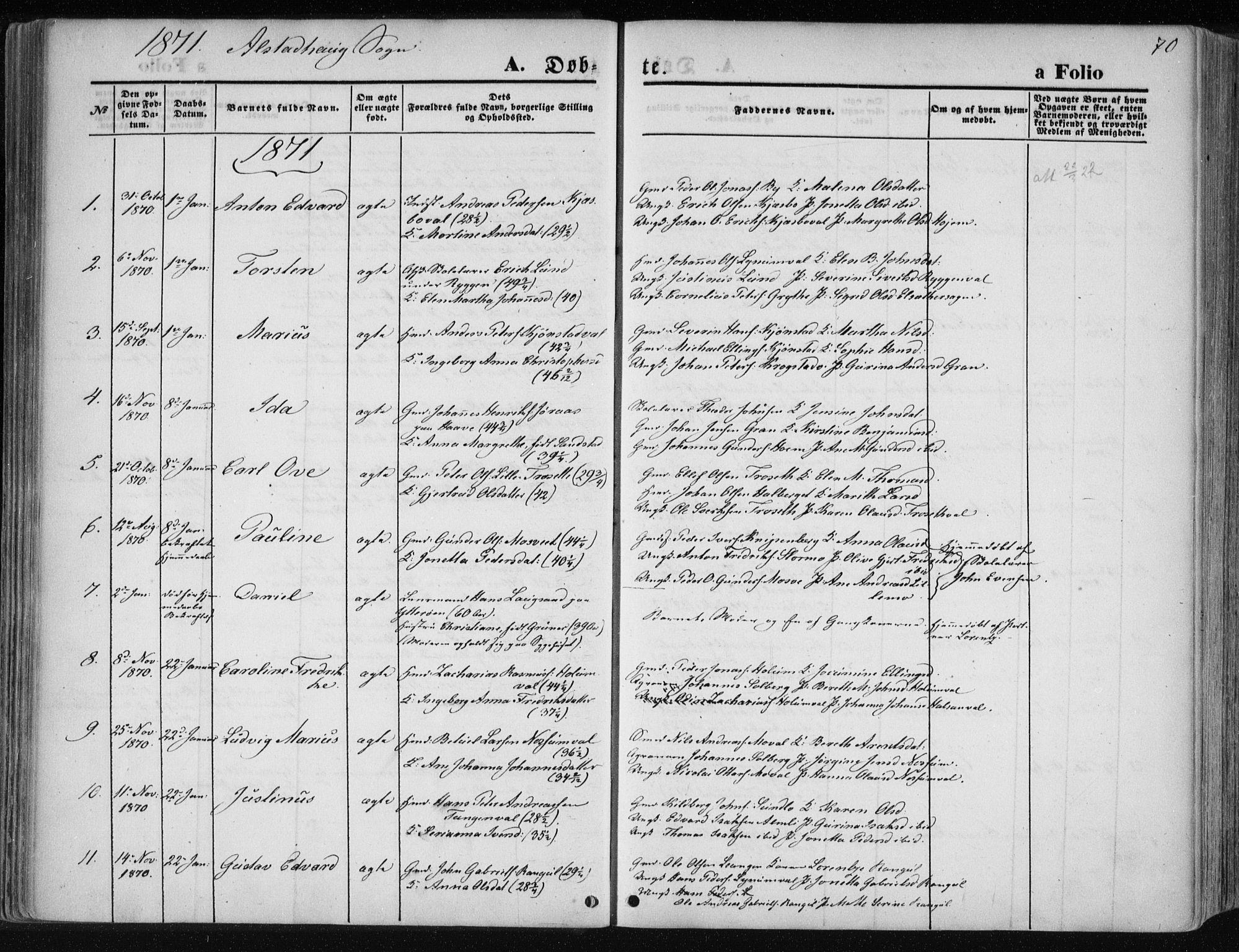SAT, Ministerialprotokoller, klokkerbøker og fødselsregistre - Nord-Trøndelag, 717/L0157: Ministerialbok nr. 717A08 /1, 1863-1877, s. 70