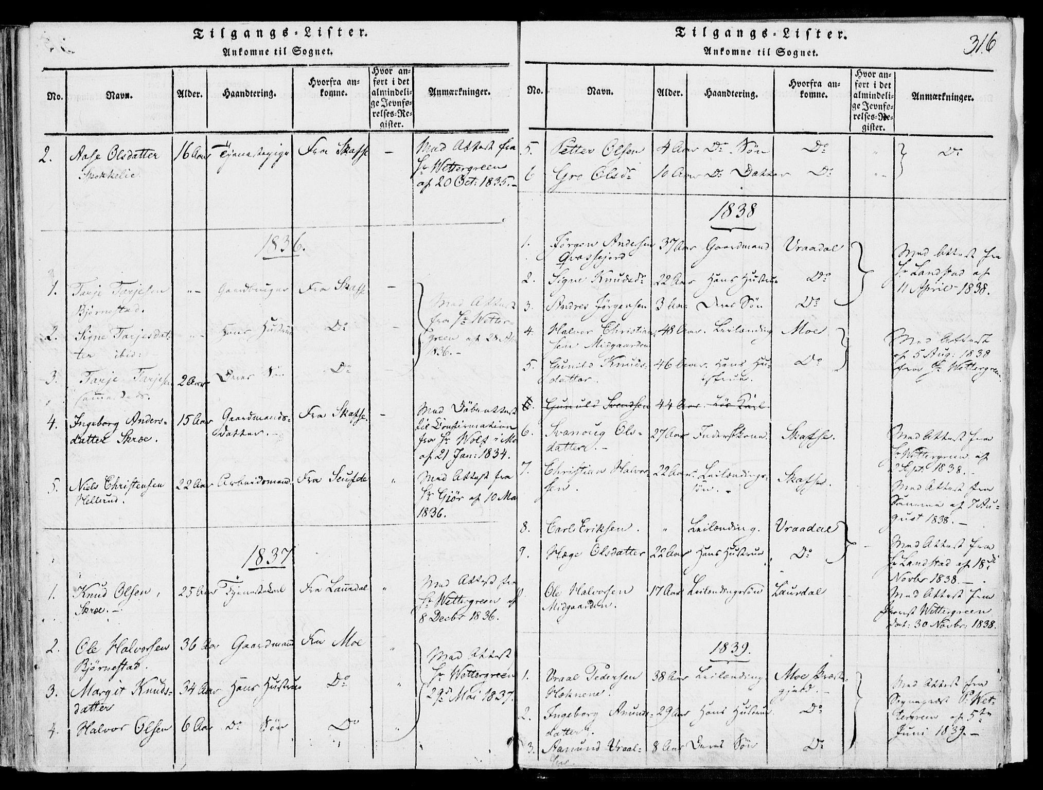 SAKO, Fyresdal kirkebøker, F/Fb/L0001: Ministerialbok nr. II 1, 1815-1854, s. 316