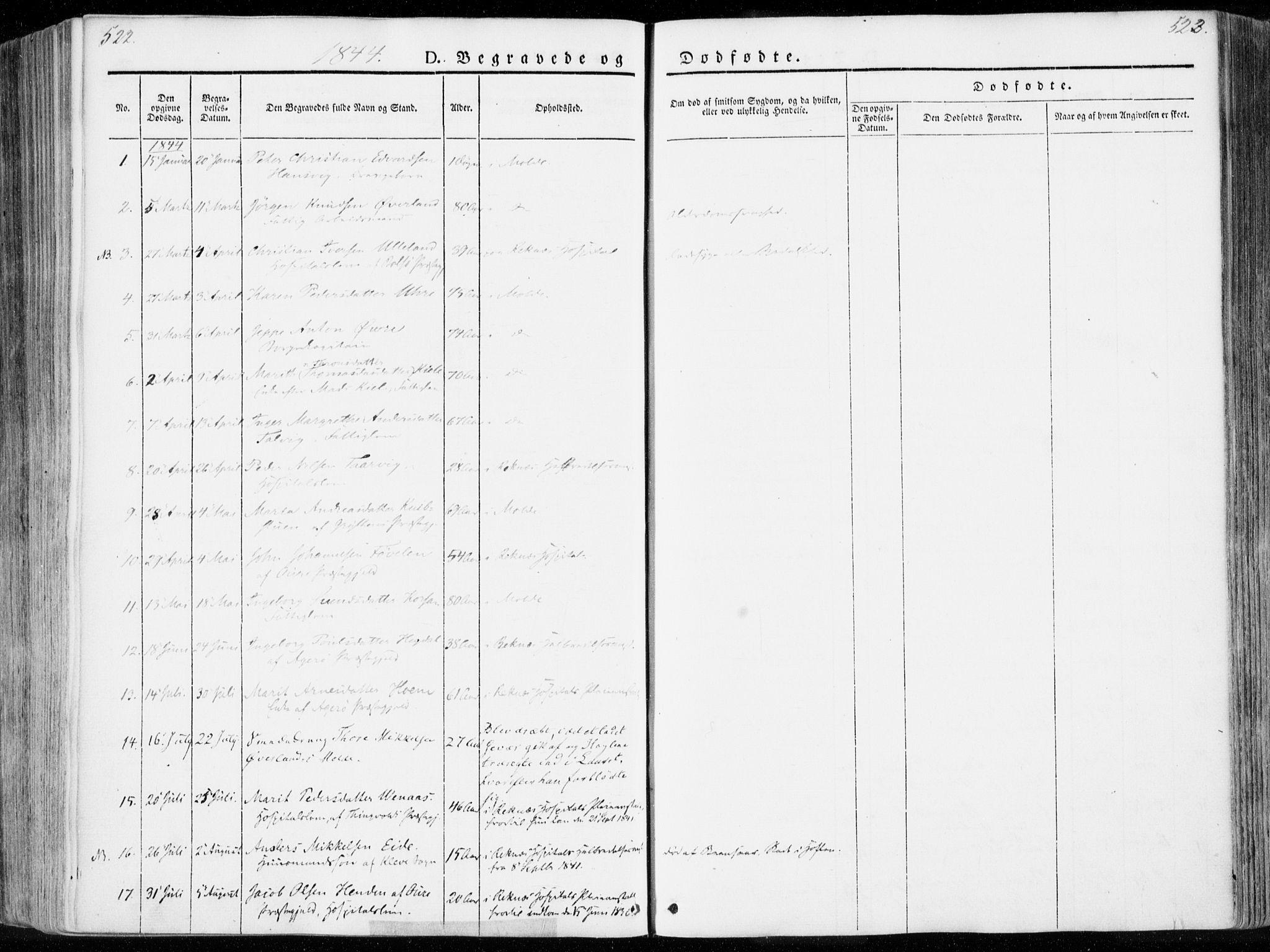 SAT, Ministerialprotokoller, klokkerbøker og fødselsregistre - Møre og Romsdal, 558/L0689: Ministerialbok nr. 558A03, 1843-1872, s. 522-523