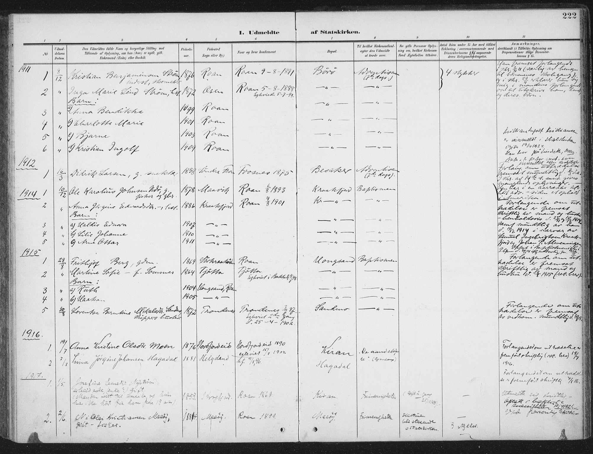 SAT, Ministerialprotokoller, klokkerbøker og fødselsregistre - Sør-Trøndelag, 657/L0709: Ministerialbok nr. 657A10, 1905-1919, s. 222