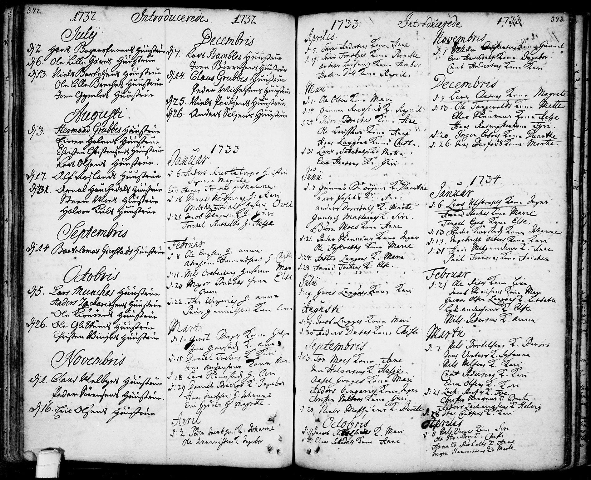 SAKO, Bamble kirkebøker, F/Fa/L0001: Ministerialbok nr. I 1, 1702-1774, s. 372-373