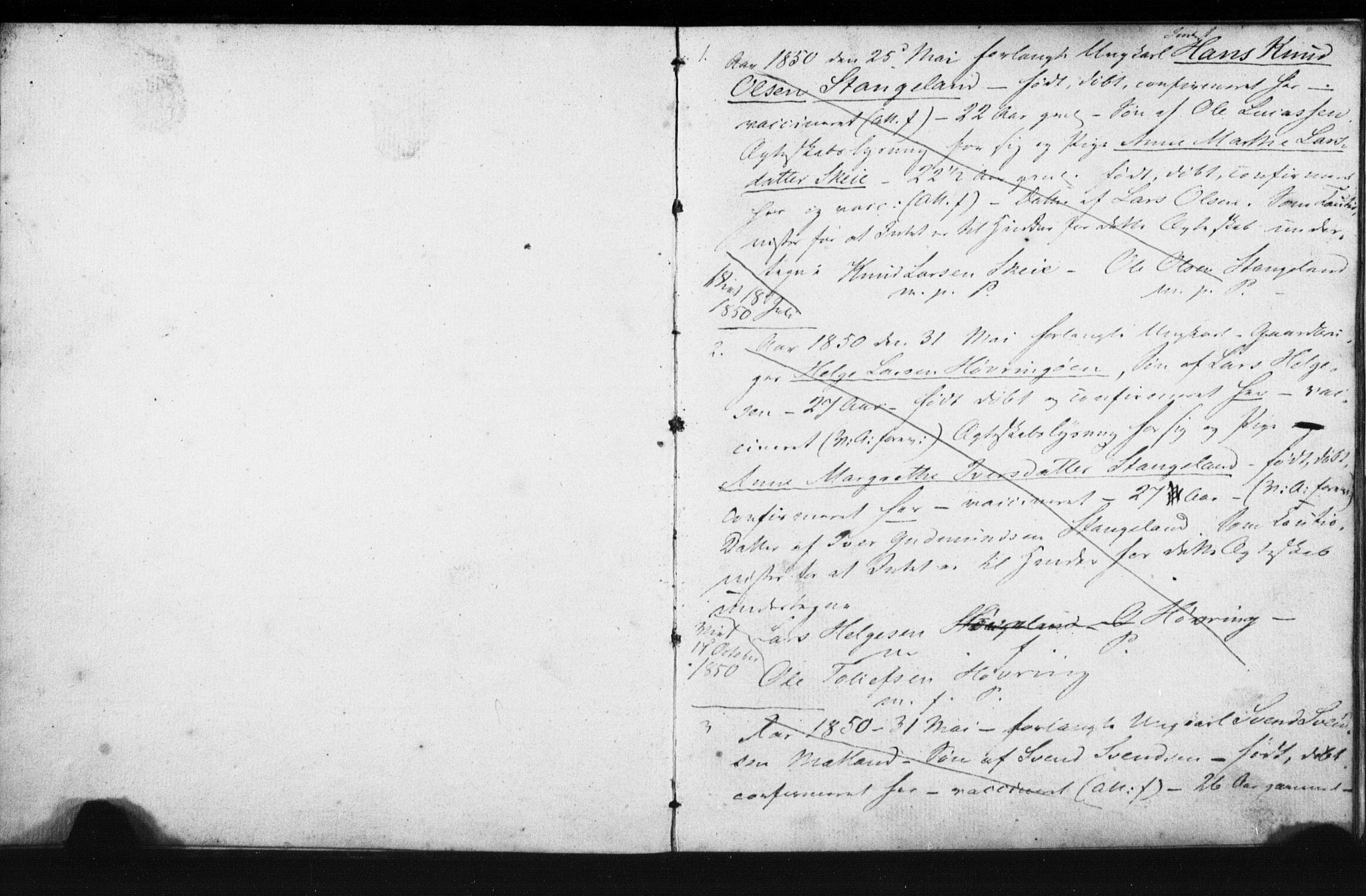 SAST, Avaldsnes sokneprestkontor, I/Ie/L0002: Lysningsprotokoll nr. IX 2, 1850-1854