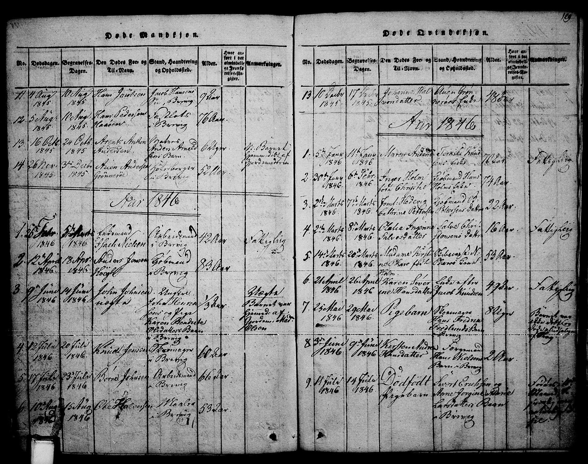 SAKO, Brevik kirkebøker, F/Fa/L0004: Ministerialbok nr. 4, 1814-1846, s. 129