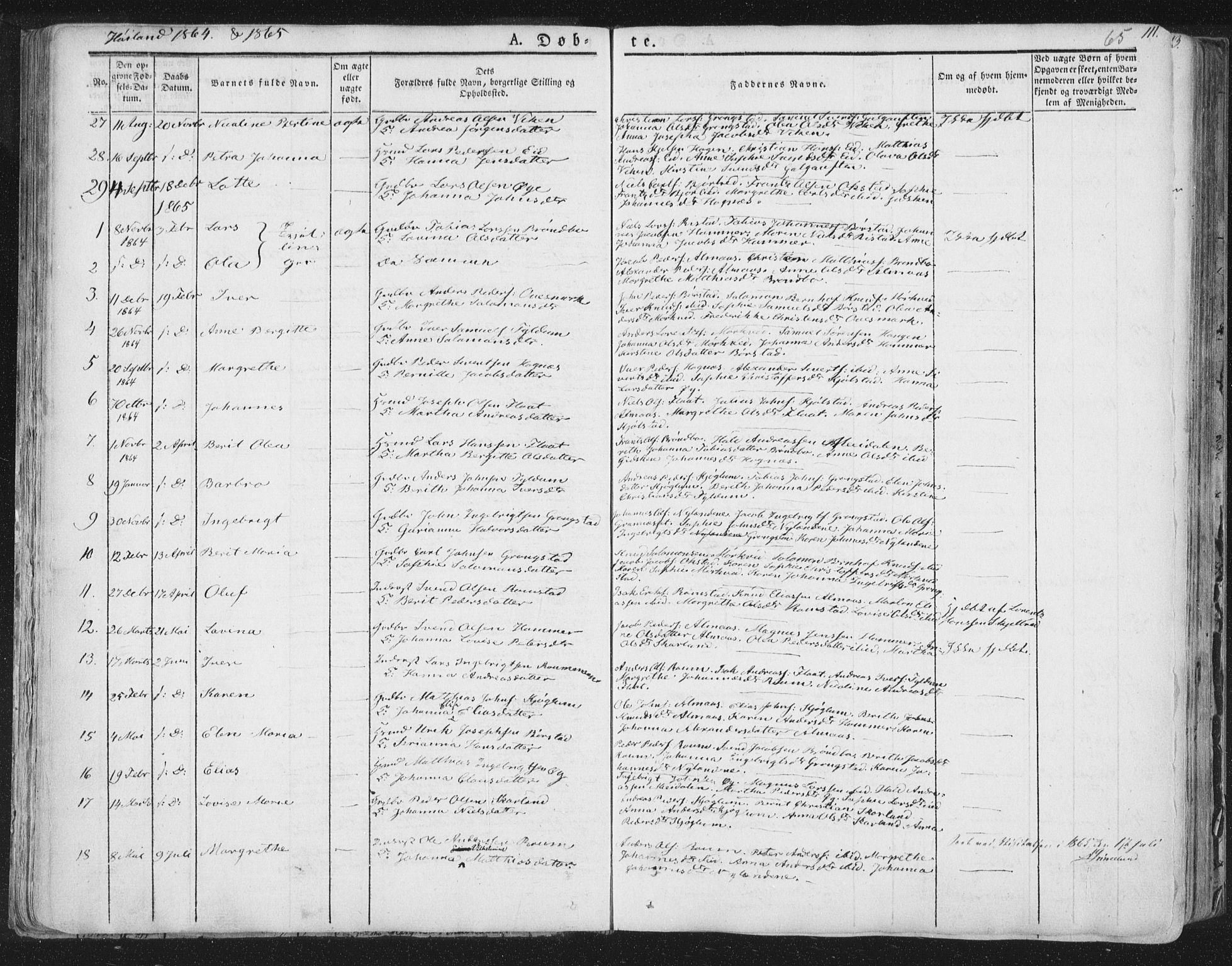 SAT, Ministerialprotokoller, klokkerbøker og fødselsregistre - Nord-Trøndelag, 758/L0513: Ministerialbok nr. 758A02 /2, 1839-1868, s. 65