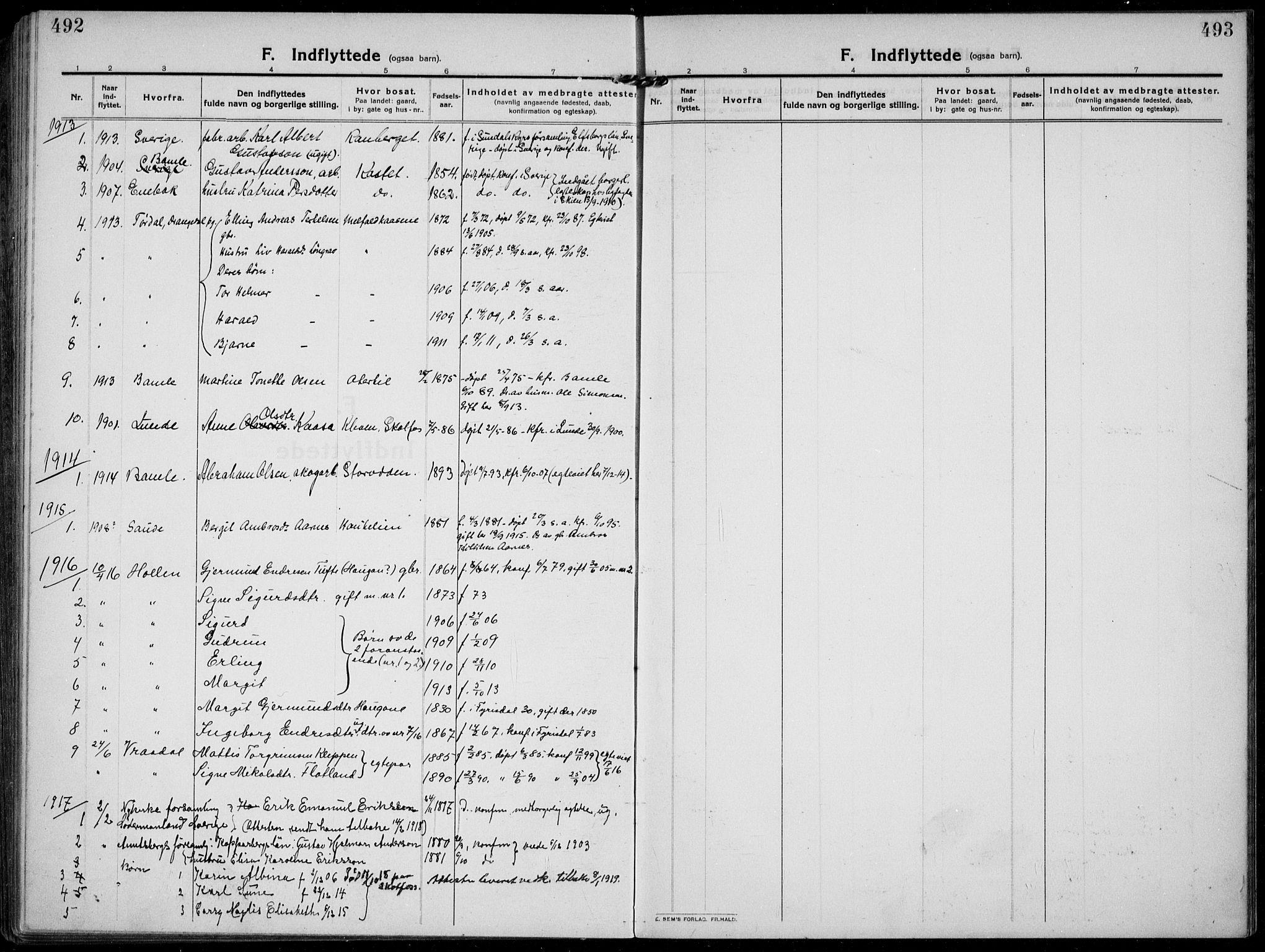 SAKO, Solum kirkebøker, F/Fb/L0004: Ministerialbok nr. II 4, 1913-1924, s. 492-493