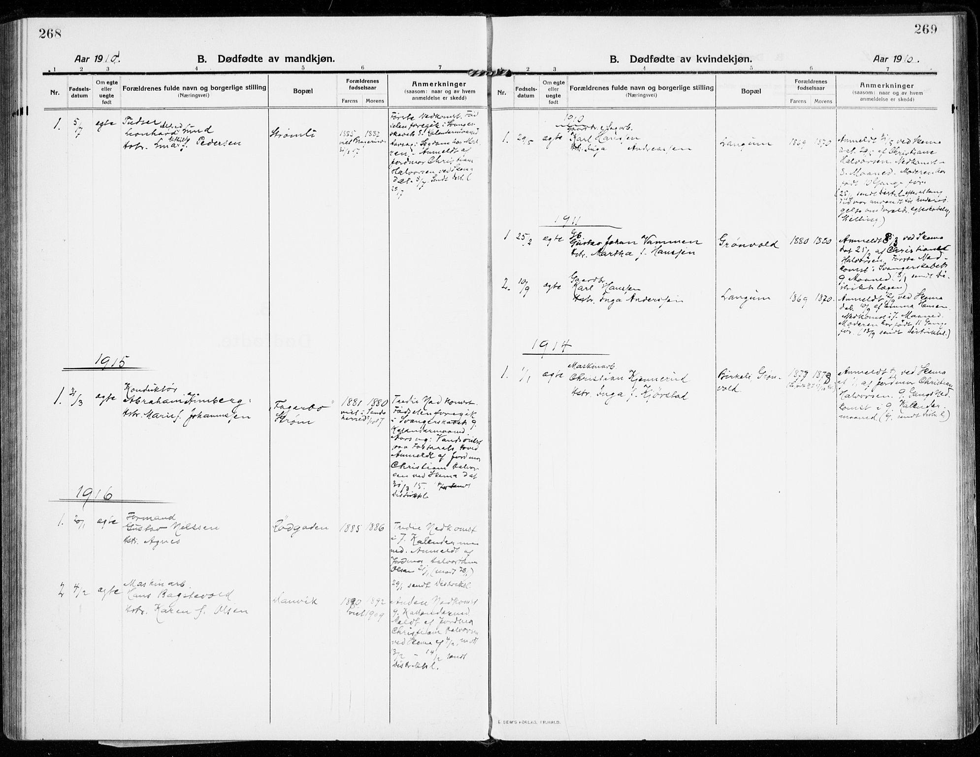 SAKO, Strømsgodset kirkebøker, F/Fa/L0002: Ministerialbok nr. 2, 1910-1920, s. 268-269