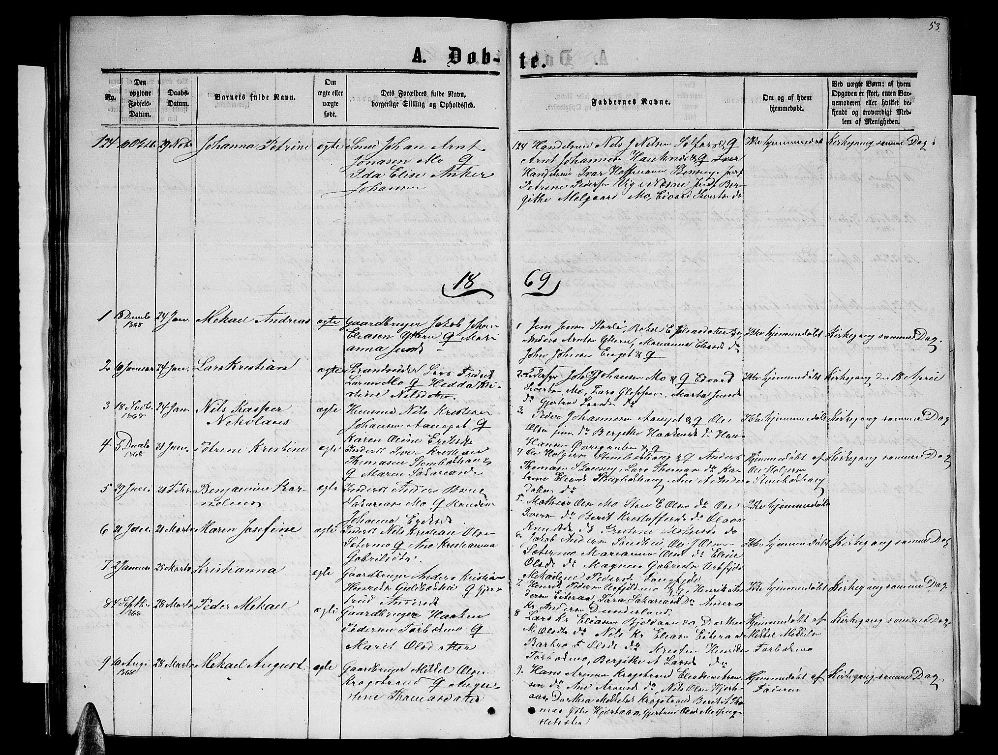 SAT, Ministerialprotokoller, klokkerbøker og fødselsregistre - Nordland, 827/L0415: Klokkerbok nr. 827C04, 1864-1886, s. 53