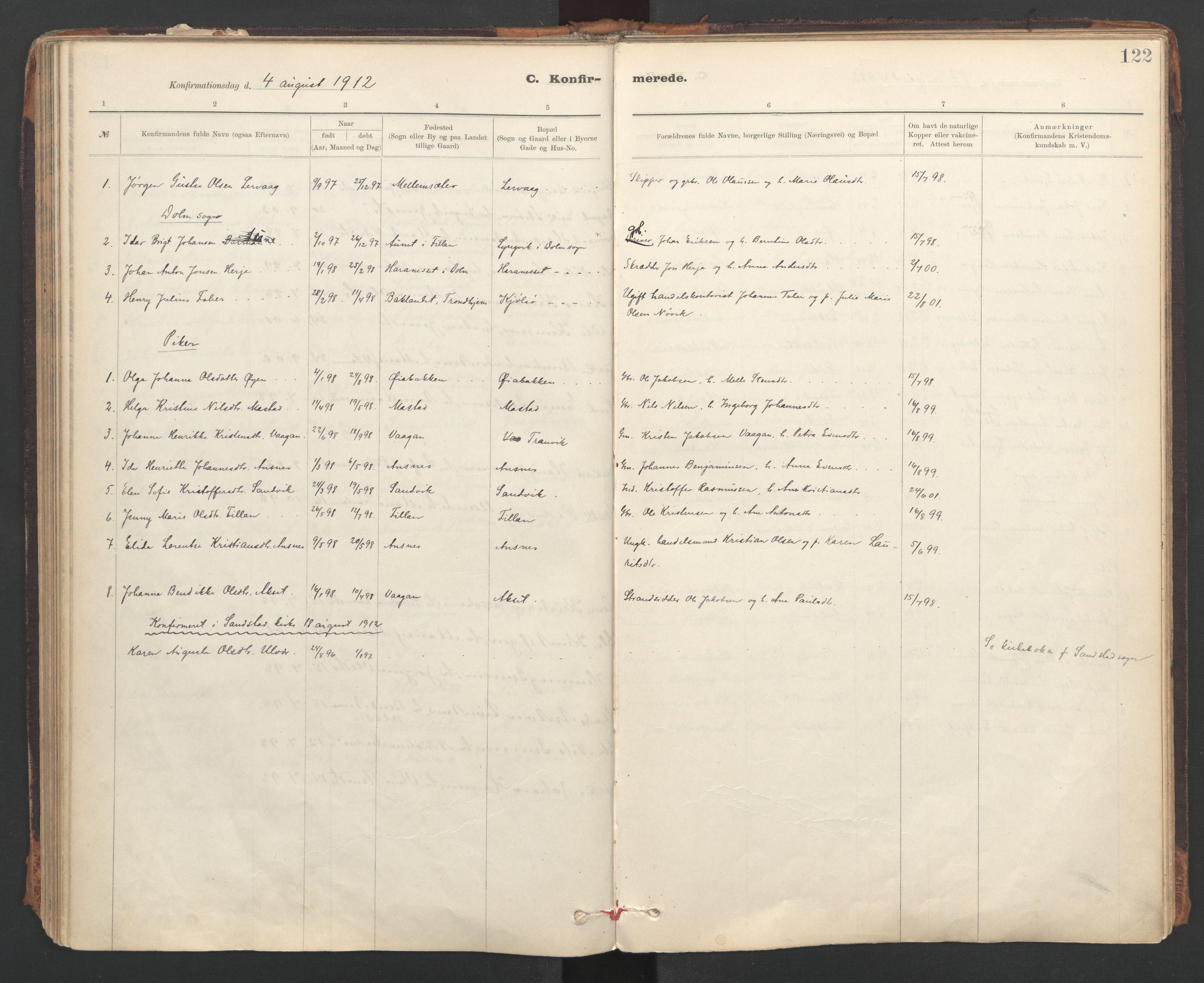 SAT, Ministerialprotokoller, klokkerbøker og fødselsregistre - Sør-Trøndelag, 637/L0559: Ministerialbok nr. 637A02, 1899-1923, s. 122