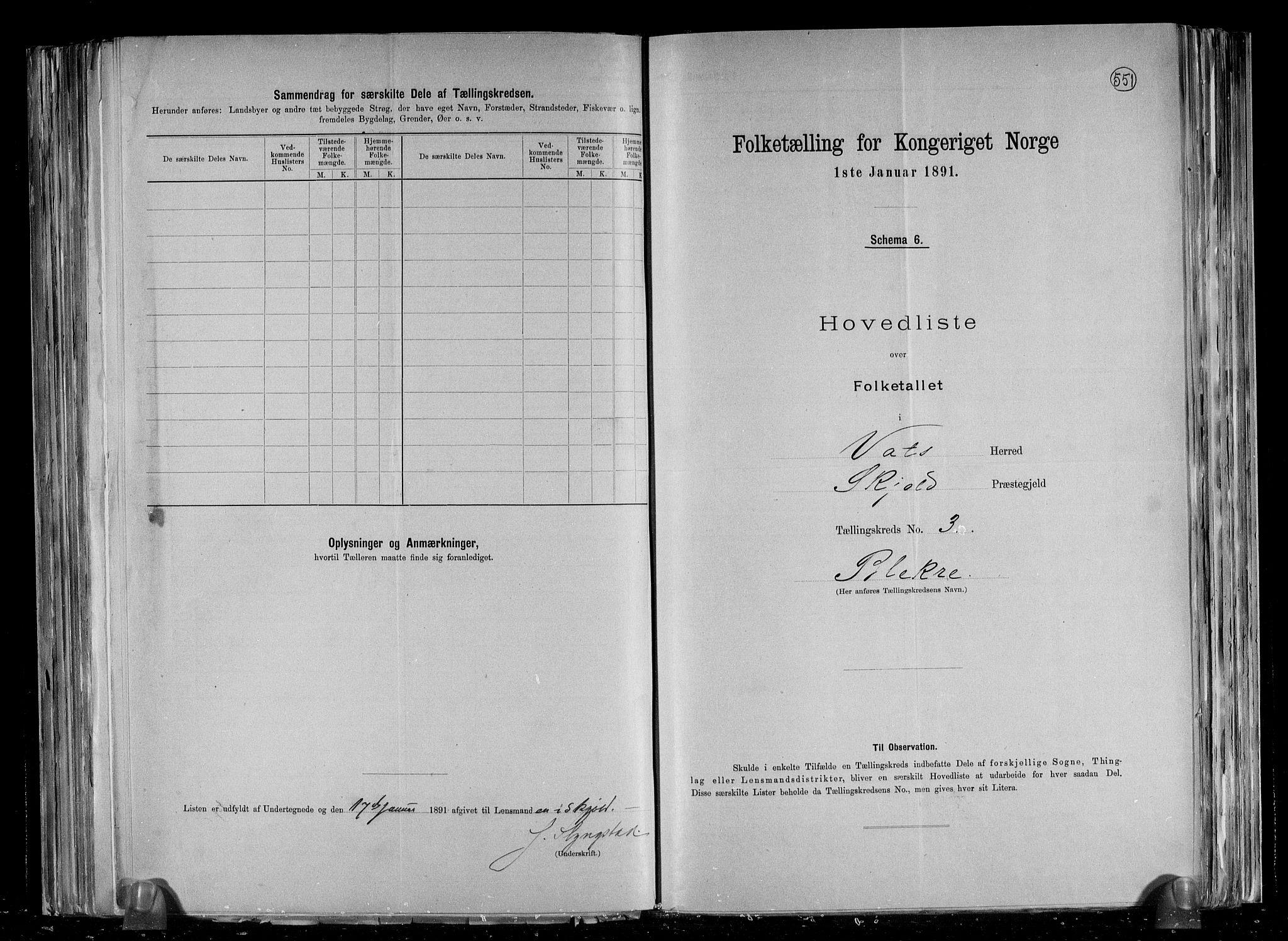 RA, Folketelling 1891 for 1155 Vats herred, 1891, s. 9