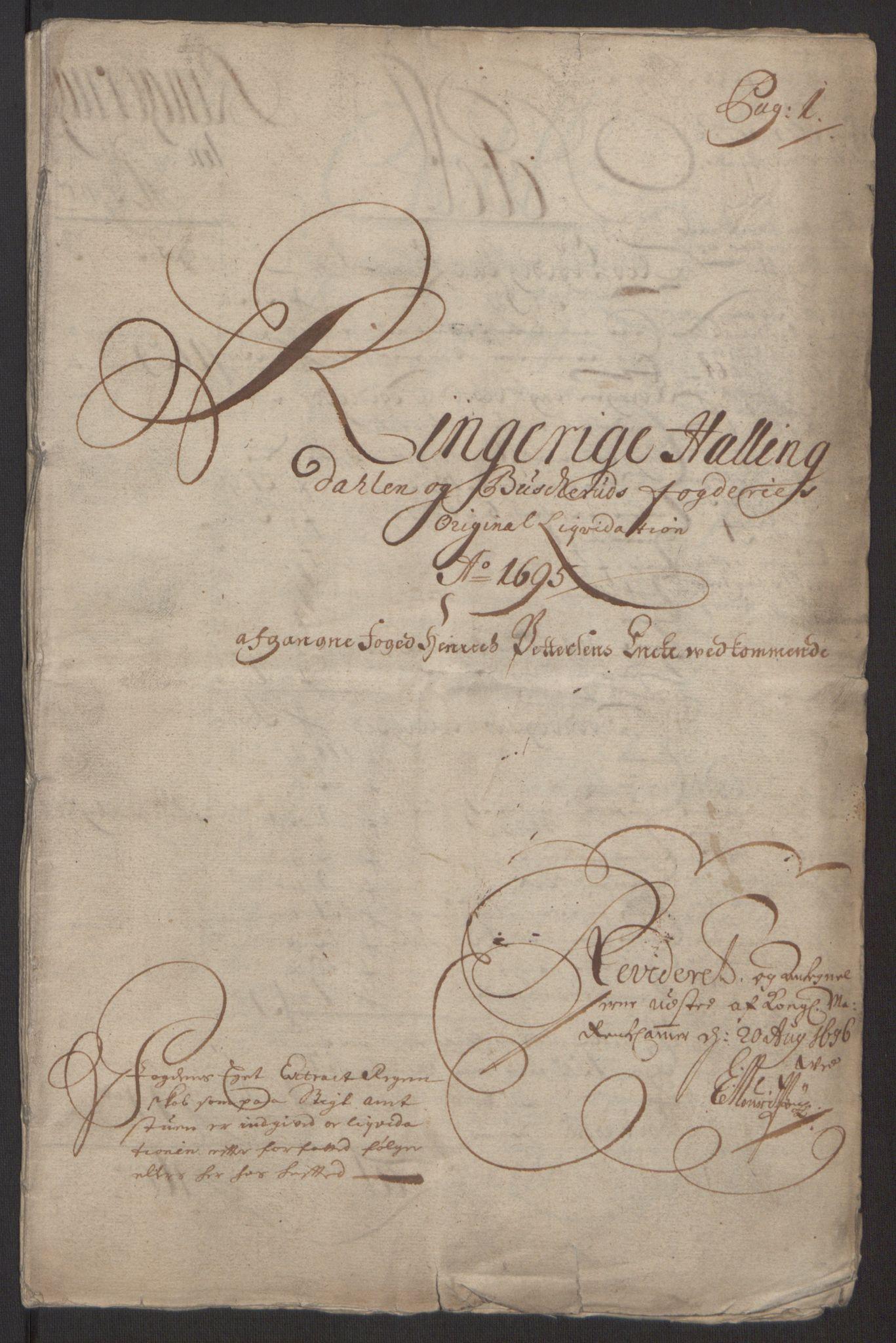 RA, Rentekammeret inntil 1814, Reviderte regnskaper, Fogderegnskap, R22/L1452: Fogderegnskap Ringerike, Hallingdal og Buskerud, 1695, s. 5