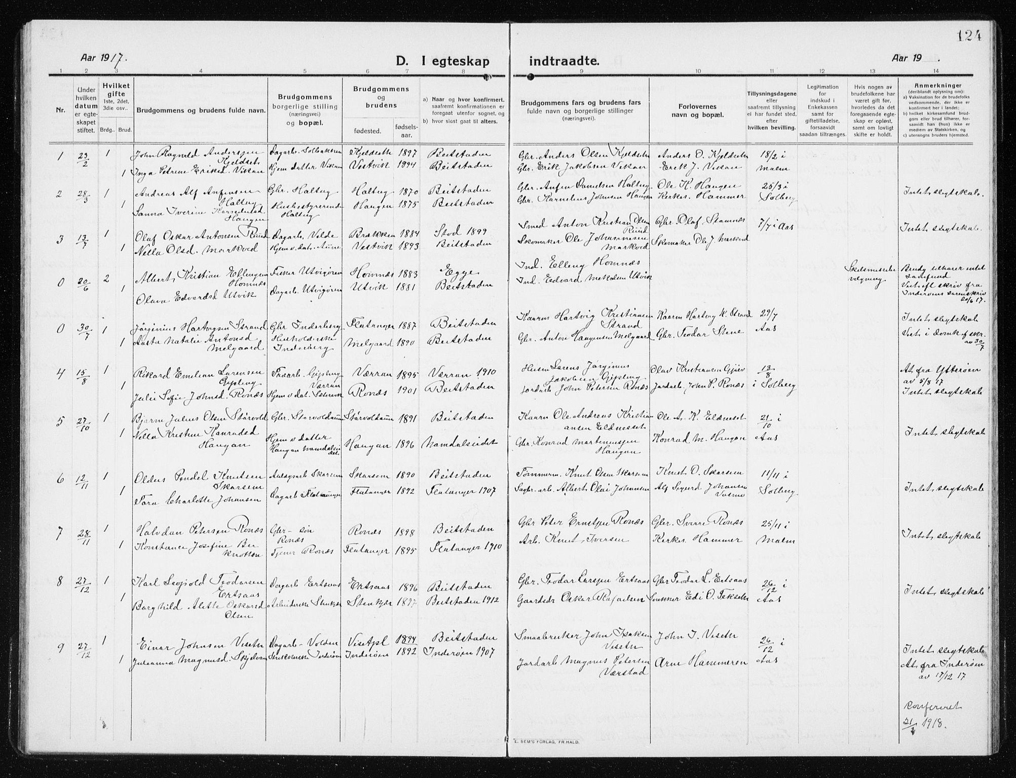SAT, Ministerialprotokoller, klokkerbøker og fødselsregistre - Nord-Trøndelag, 741/L0402: Klokkerbok nr. 741C03, 1911-1926, s. 124