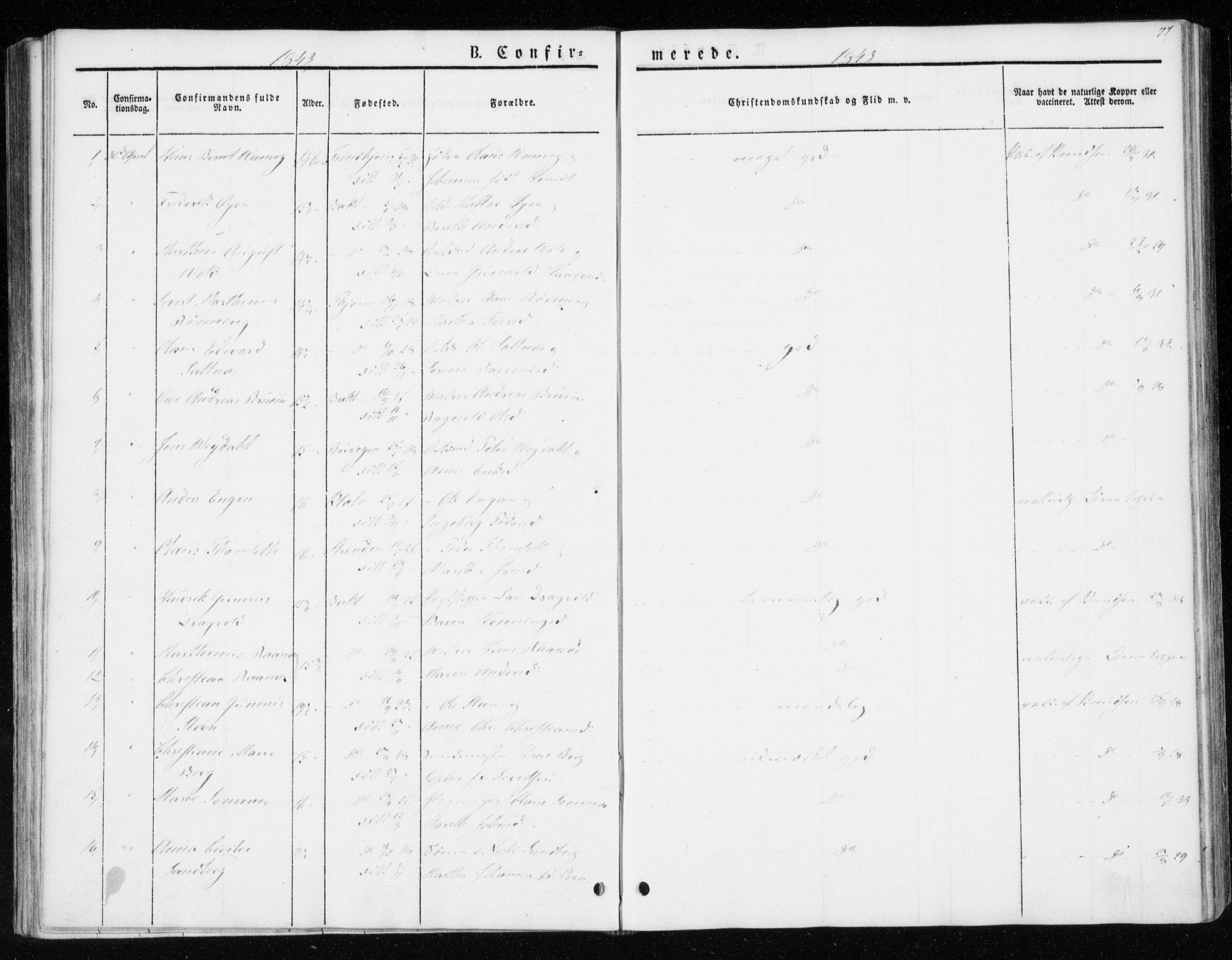 SAT, Ministerialprotokoller, klokkerbøker og fødselsregistre - Sør-Trøndelag, 604/L0183: Ministerialbok nr. 604A04, 1841-1850, s. 77