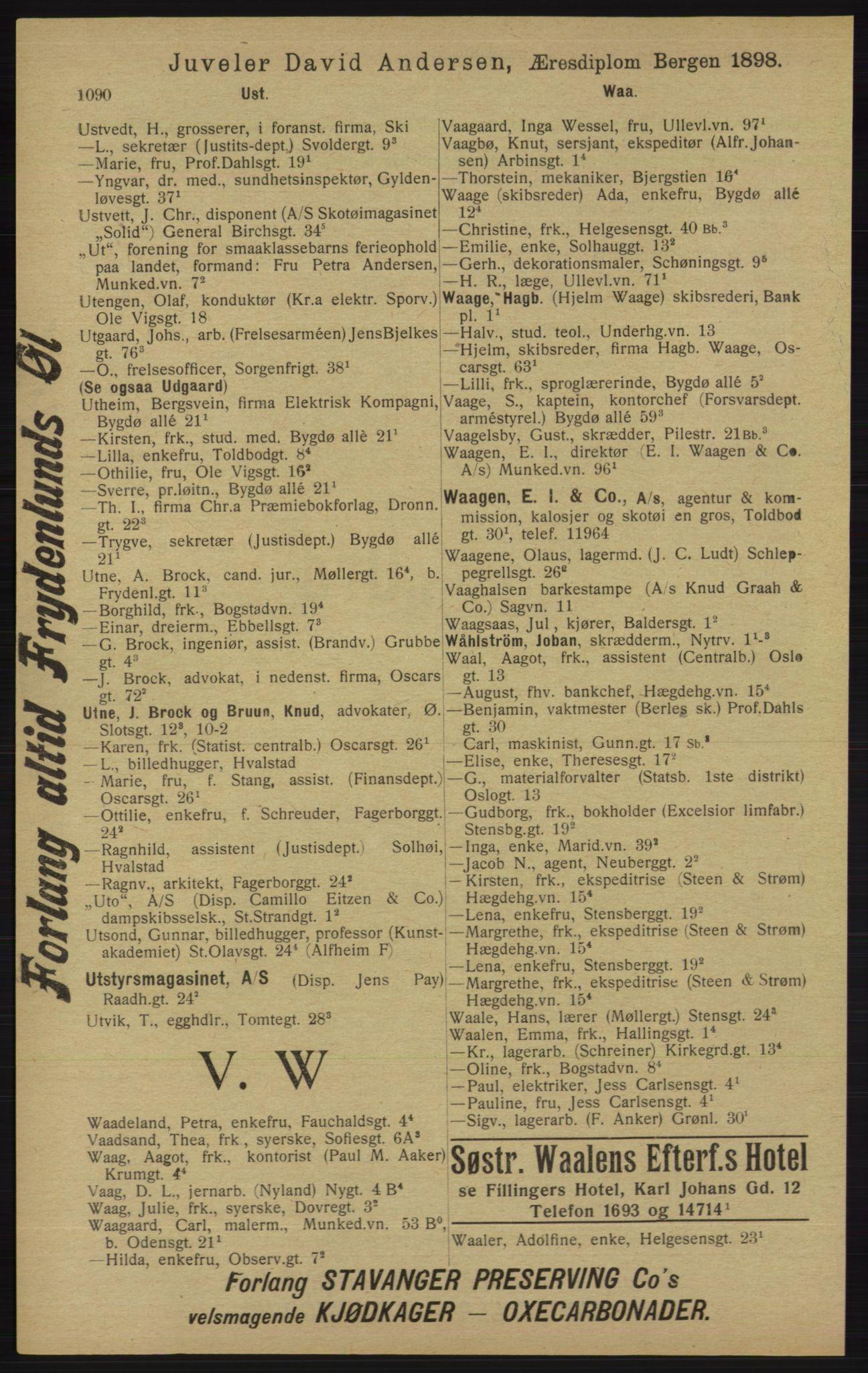 RA, Kristiania adressebok (publikasjon)*, 1913, s. 1090